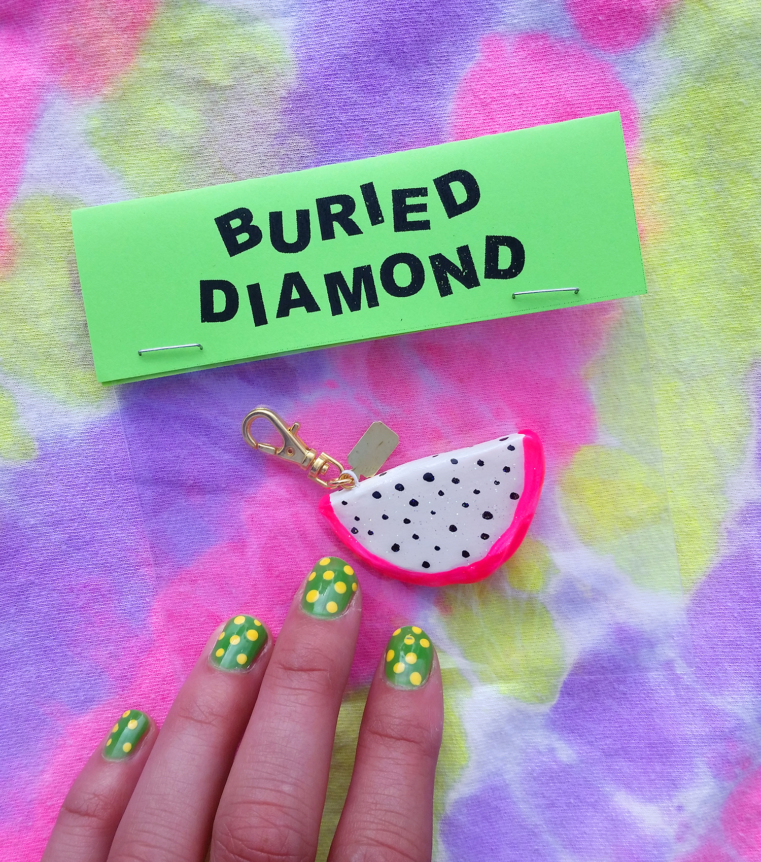 A Buried Diamond dragonfruit charm. I made 10 of these for the opening and I love how they turned out.