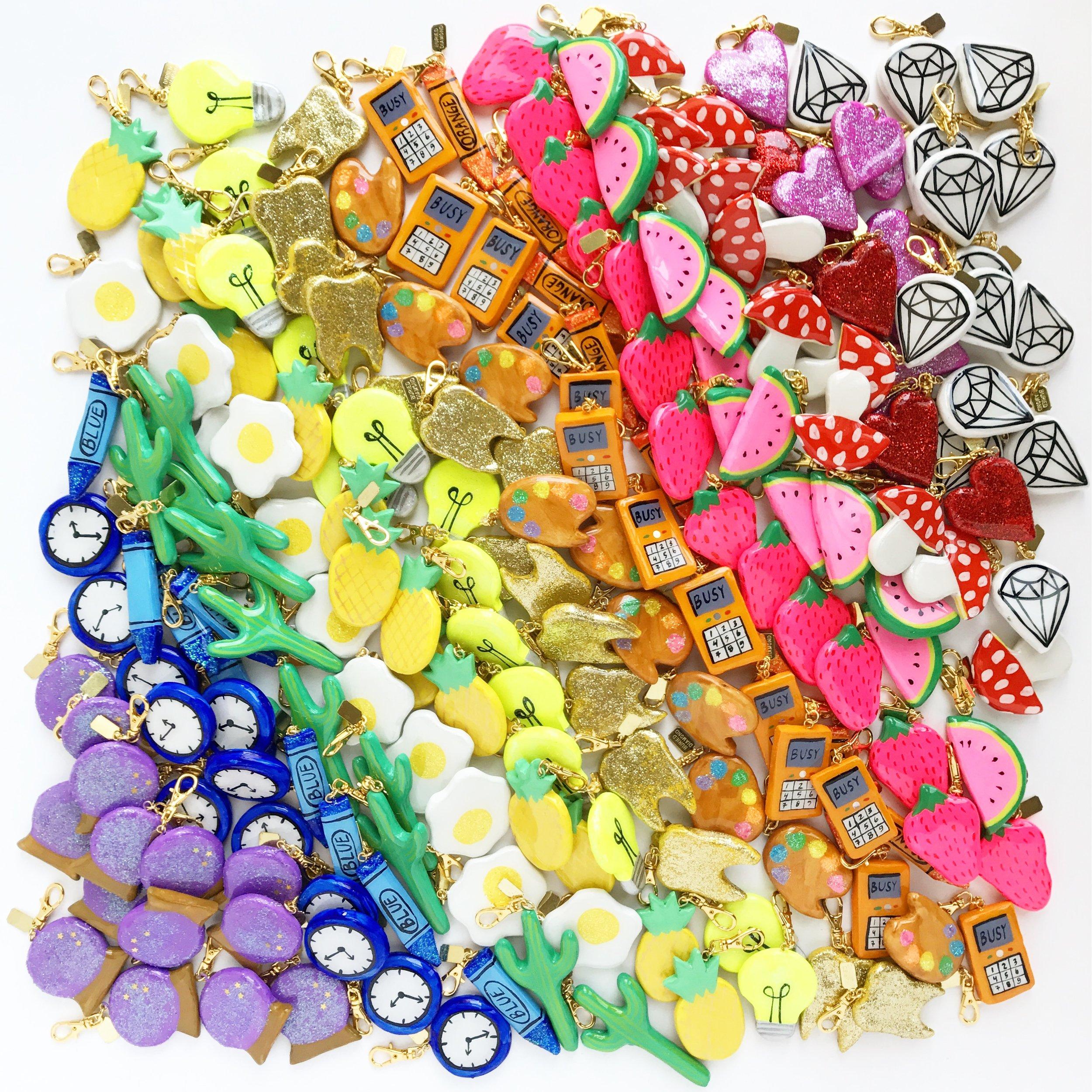 A huge pile of hand made chunky charms, awaiting a big charm sale!