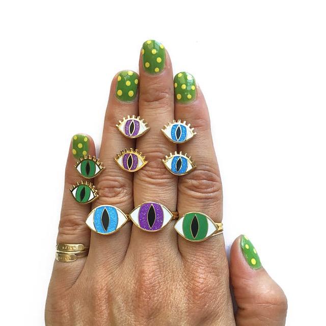 Enamel Magic Eye designs for stud earrings and rings.