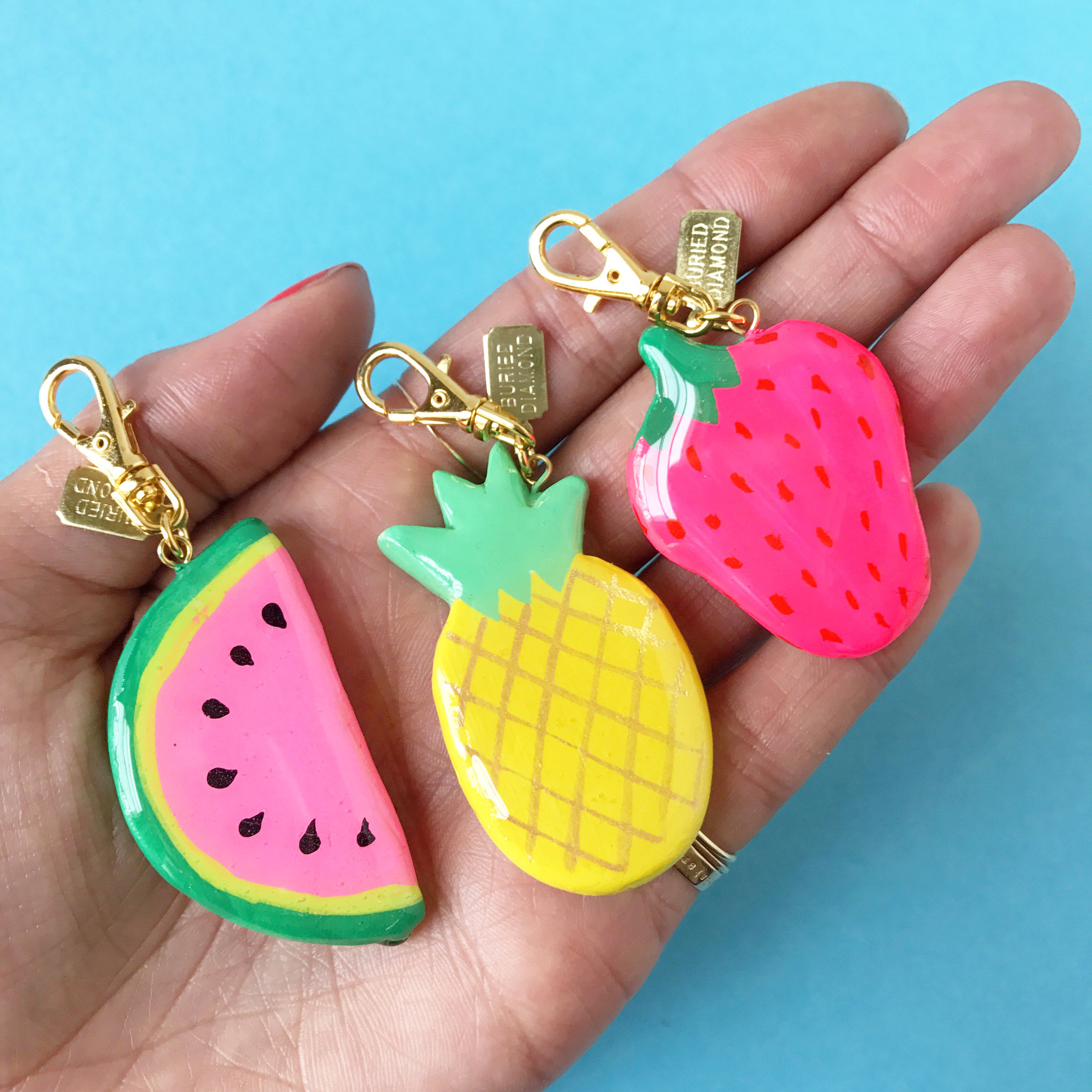 Chunky handmade fruits charms are always popular in the summer.