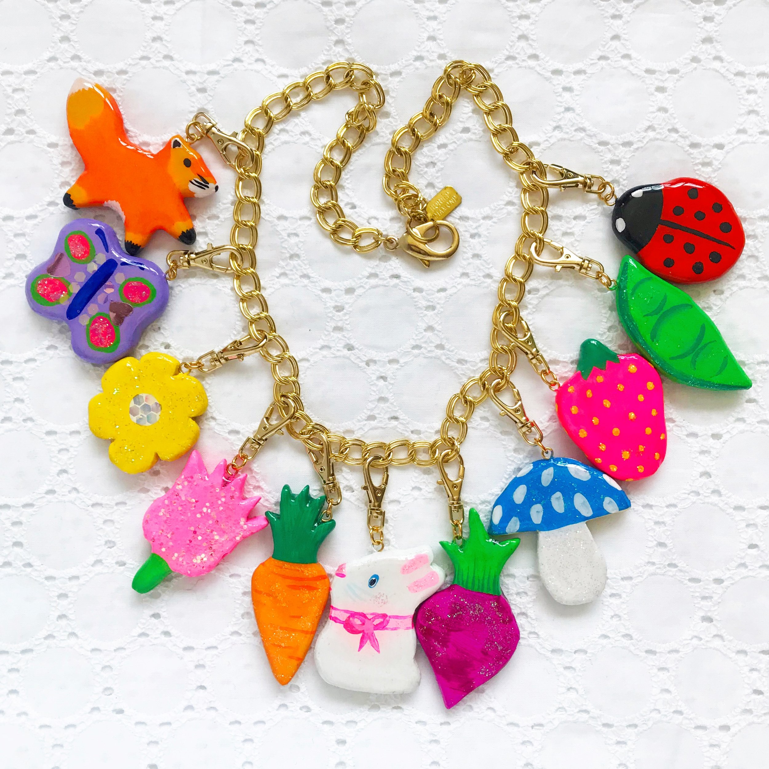 A one-of-a-kind chunky charms necklace from my collection. This was inspired by European Easter treats and decorations.