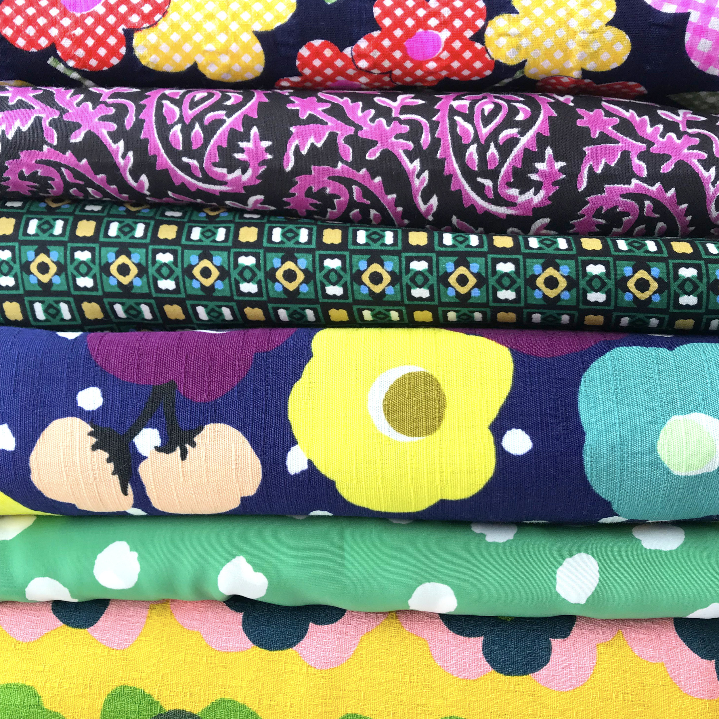 Some of my finds. Japanese fabrics drive me wild! I love the colors, textures, and prints.