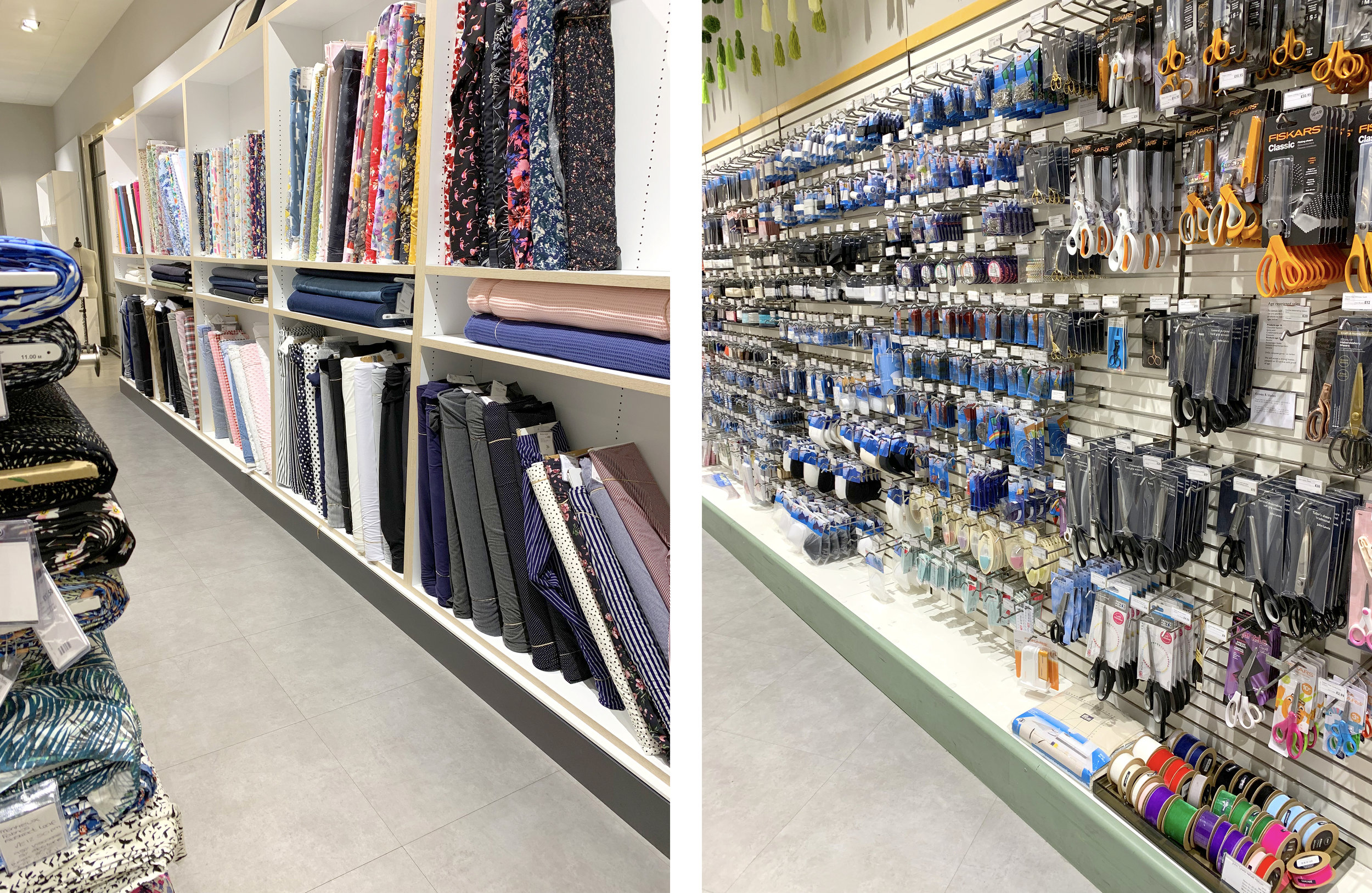 The fabric selection is small, but the assortment of notions, tools, and bits & bobs is comprehensive.
