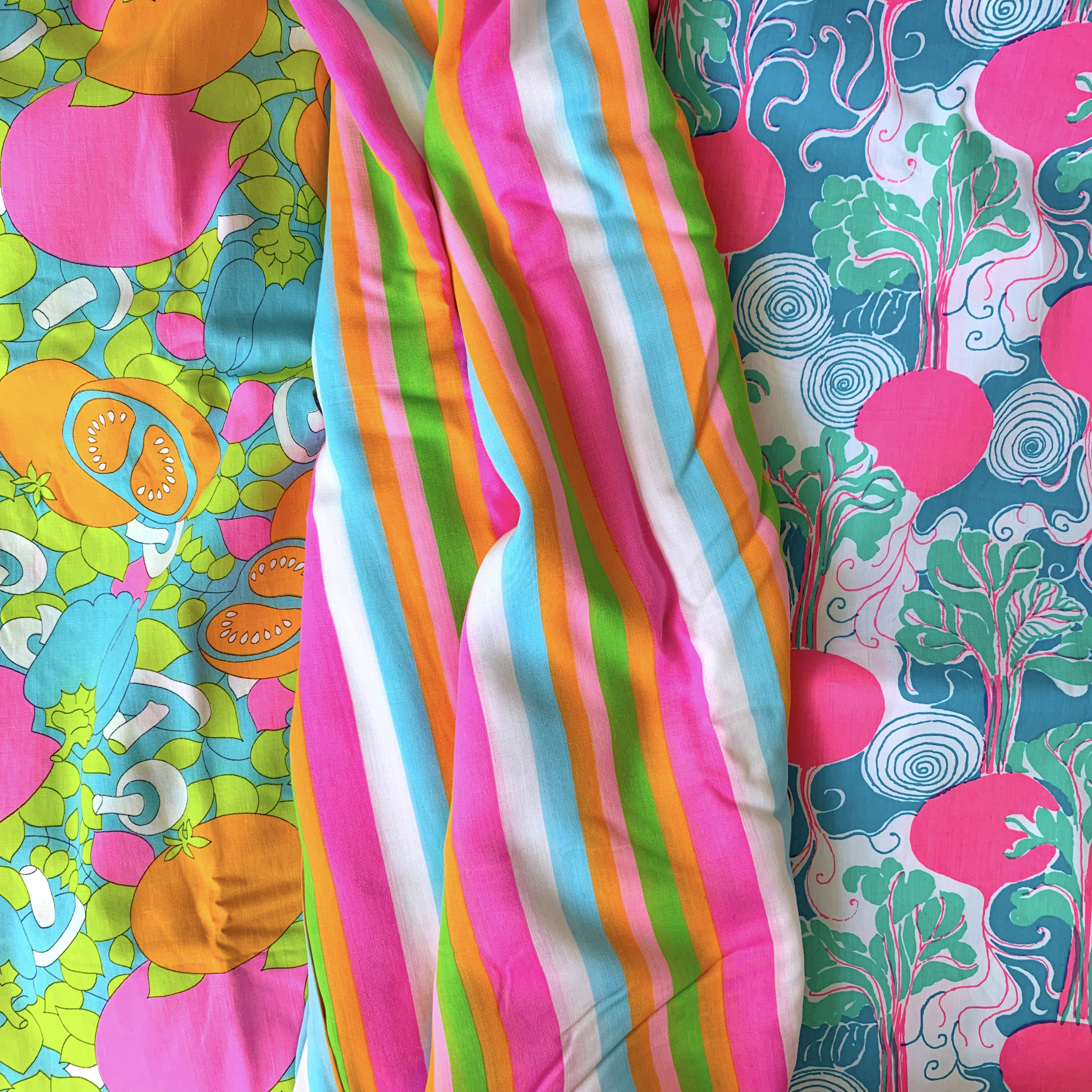 Neon vintage prints: The vegetable print is vintage dressweight cotton, it has been in my stash for about 8-9 years. The stripe is an amazing poly/cotton lawn, and was a gift from my BFF Lizzy; she found 5 yards at an estate sale for $5. The Beets print is a Lily Pulitzer curtain, a gift from another dear friend - I have had it since college!