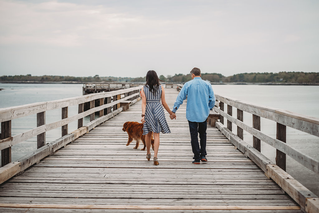 New England Waterfront Engagement Dog | Mike Sears Photography