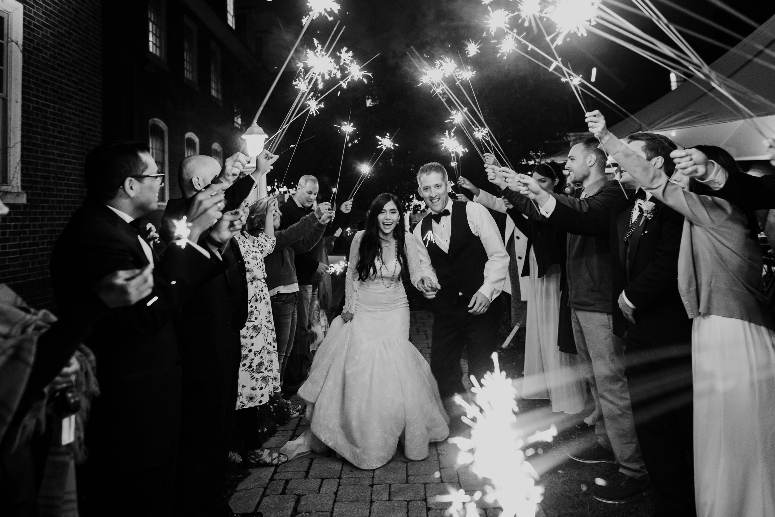 New England Black White Sparklers Reception | Mike Sears Photography
