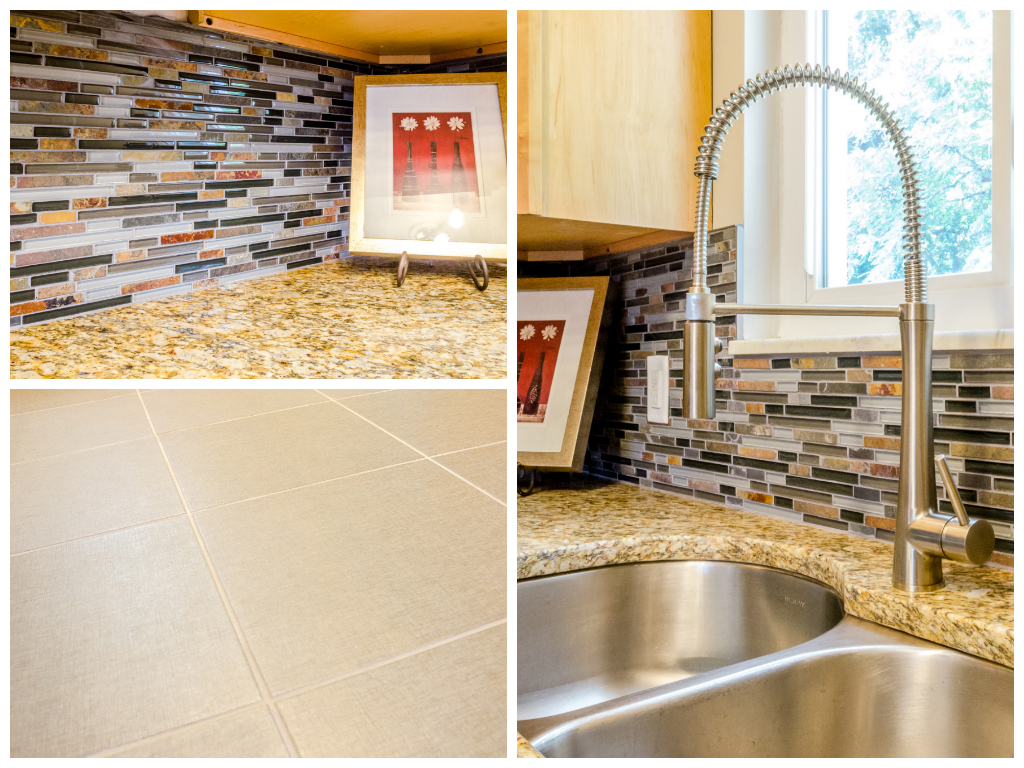 Grandview finishes included a ceramic tile floor with a linen finish, new granite, under mount sink, gooseneck faucet, and a stone and glass mosaic backsplash.