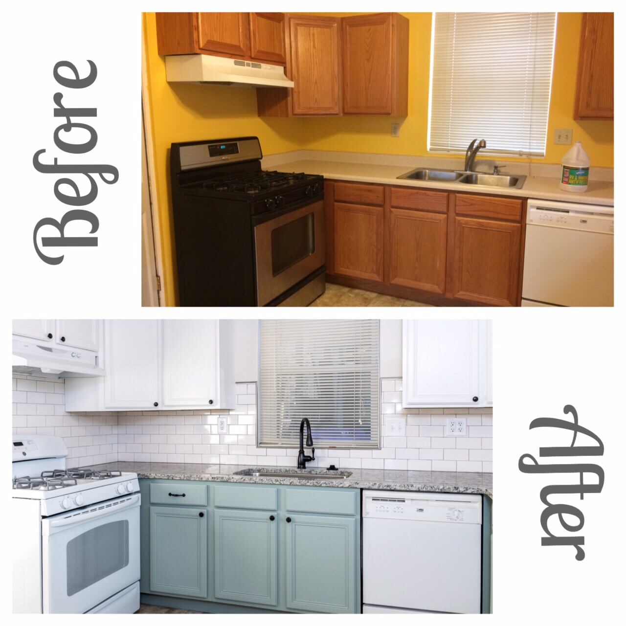 Before and After Minty Vintage Kitchen Remodel Subway Tile Backsplash