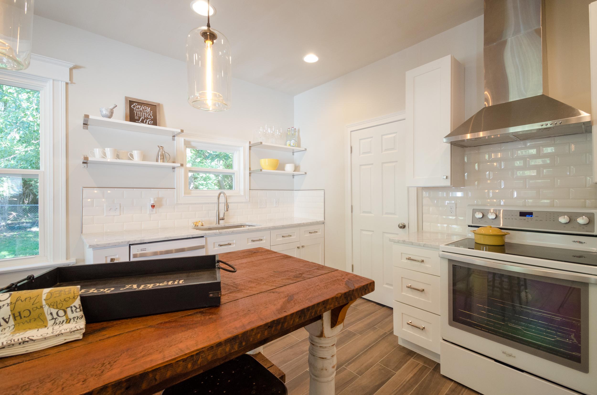 White Rustic Cottage Kitchen