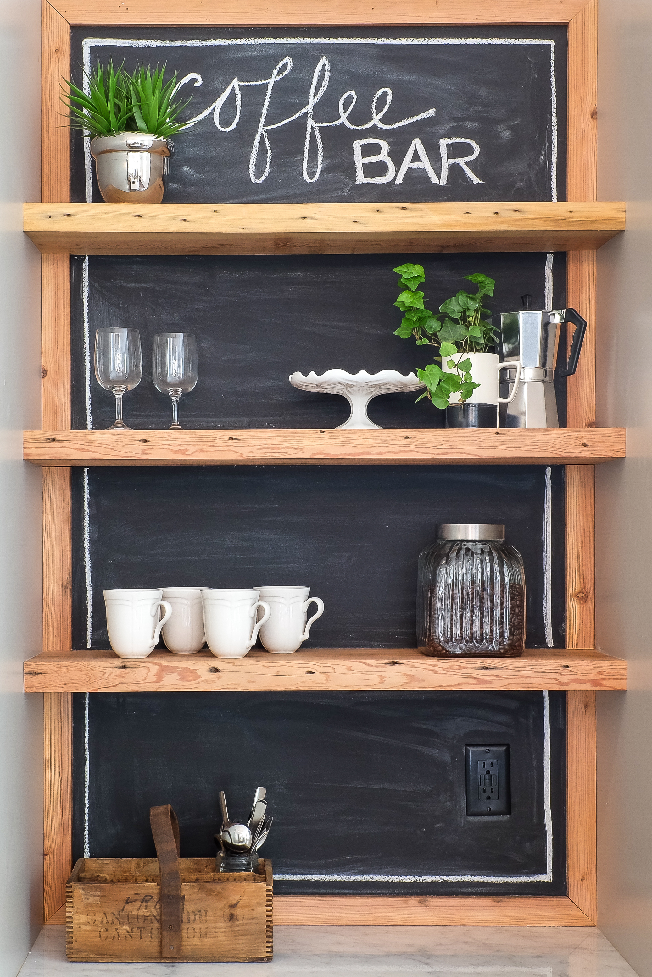 Coffee Bar with Salvaged Wood Shelves and Chalkboard Paint Backsplash