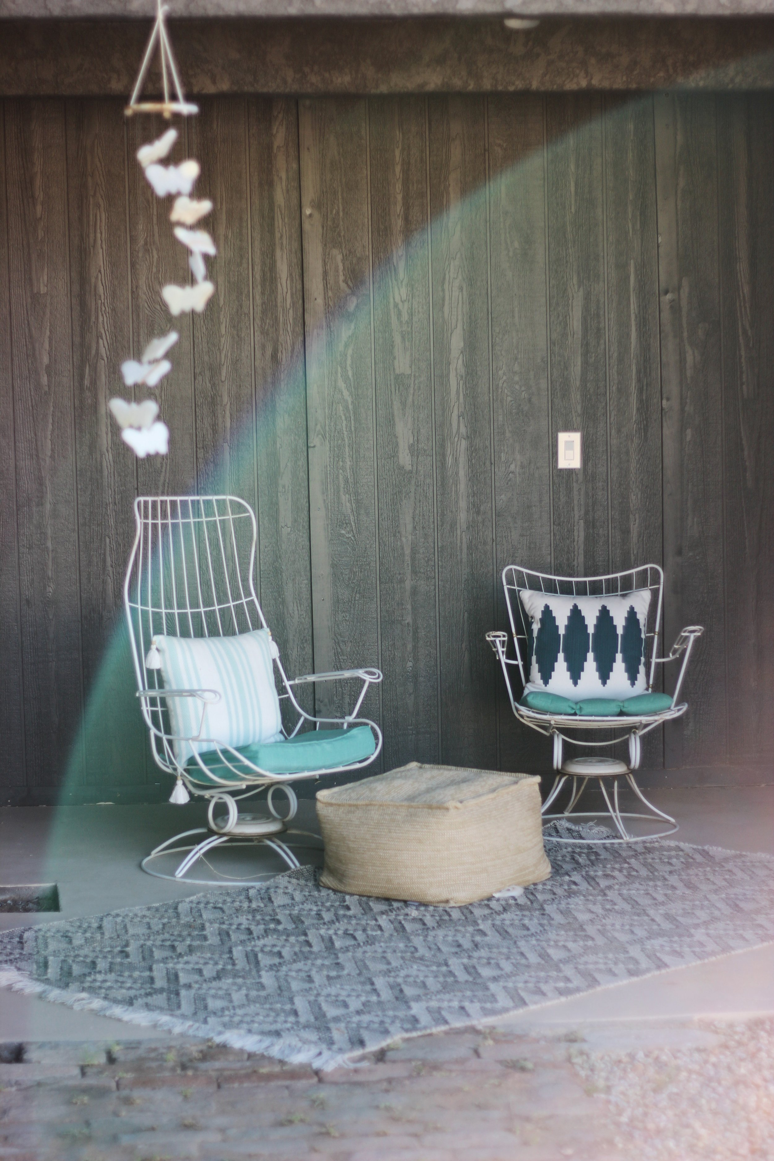 Vintage Homecrest chairs on patio