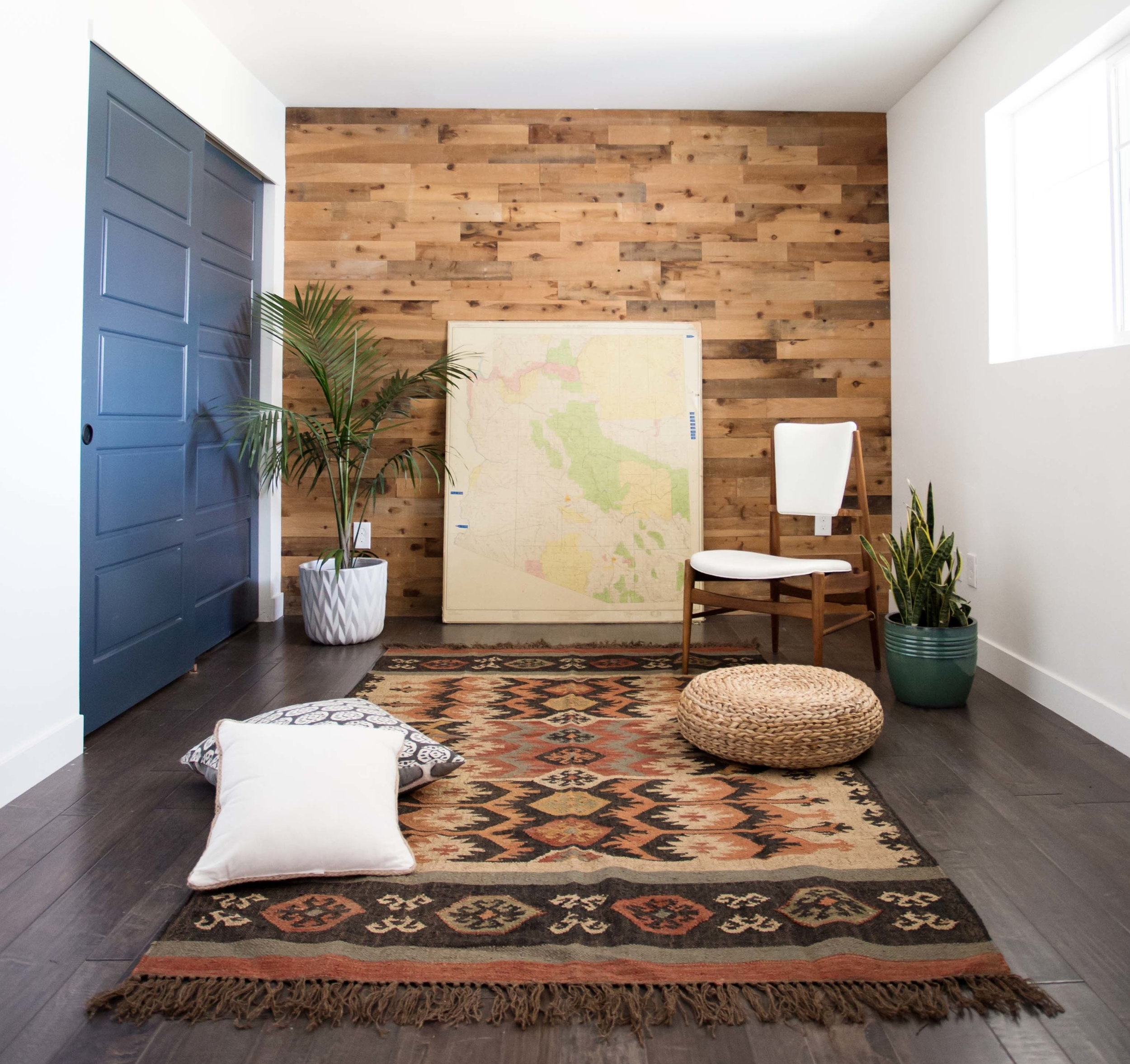Clarendon Study with cedar wood barnwood accent wall