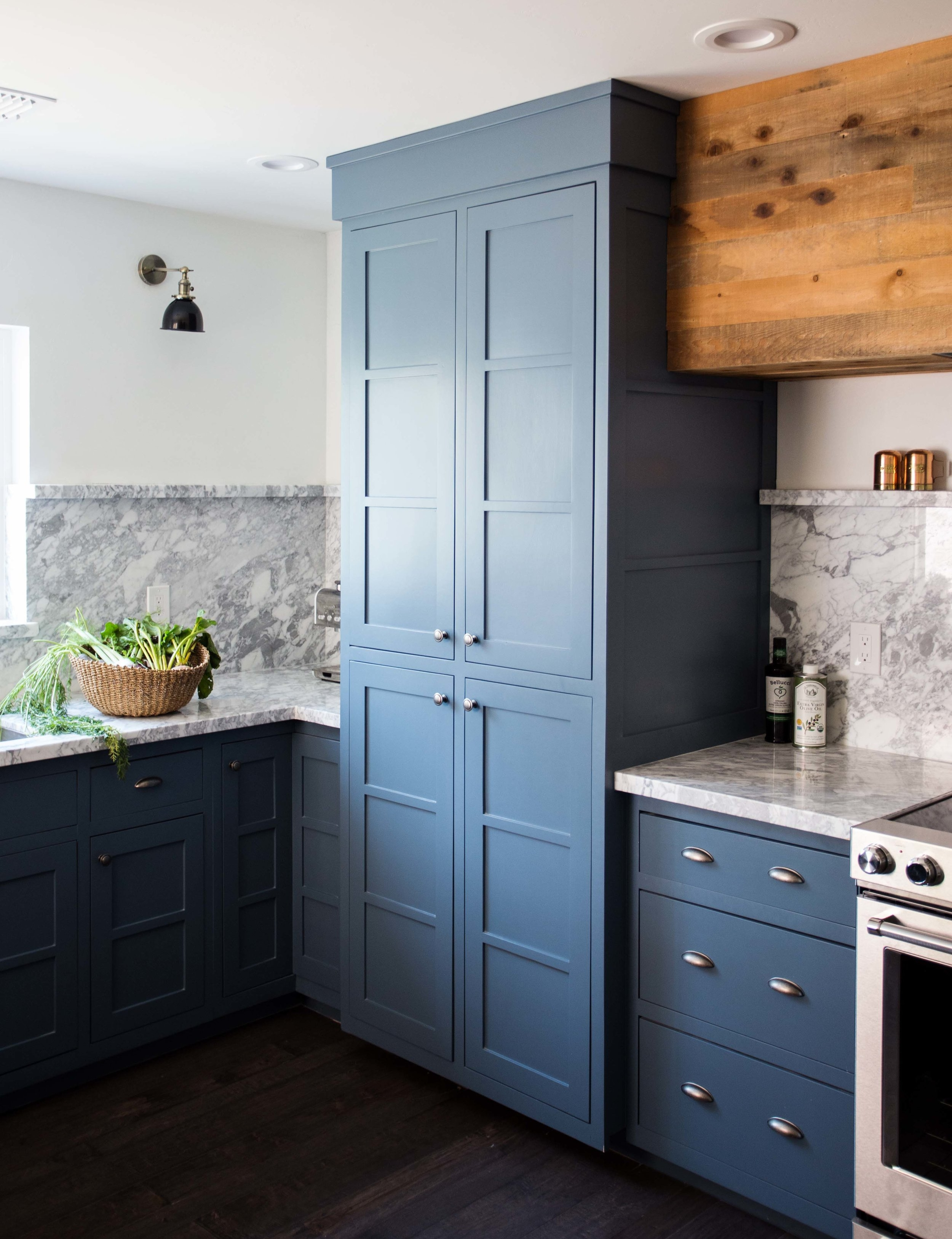 Clarendon Kitchen Pantry shaker style cabinet blue marble curb backsplash