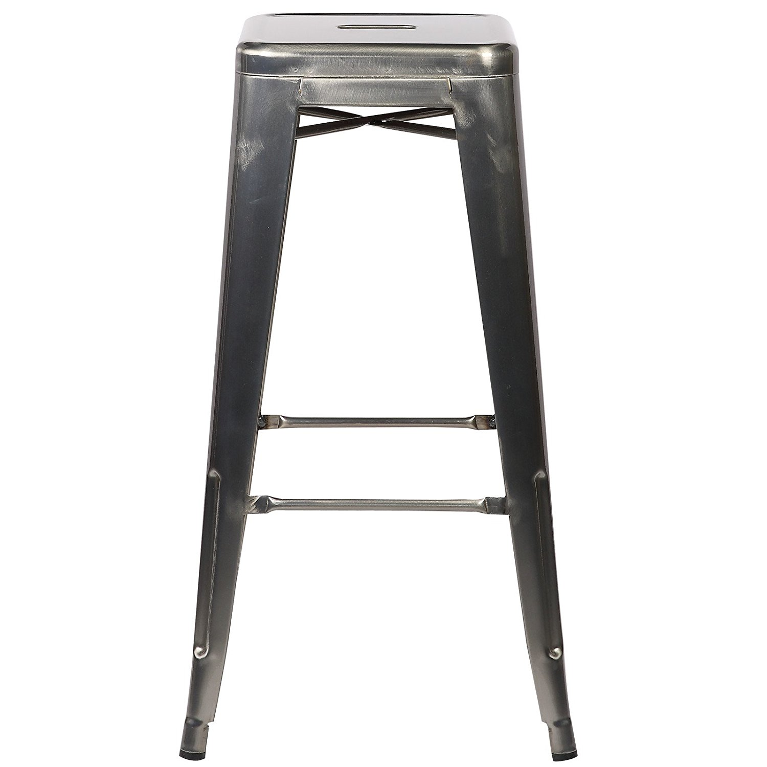 Poly and Bark EM-126-POL-X4 Trattoria Bar Stool in Polished Gunmetal (Set of 4) industrial