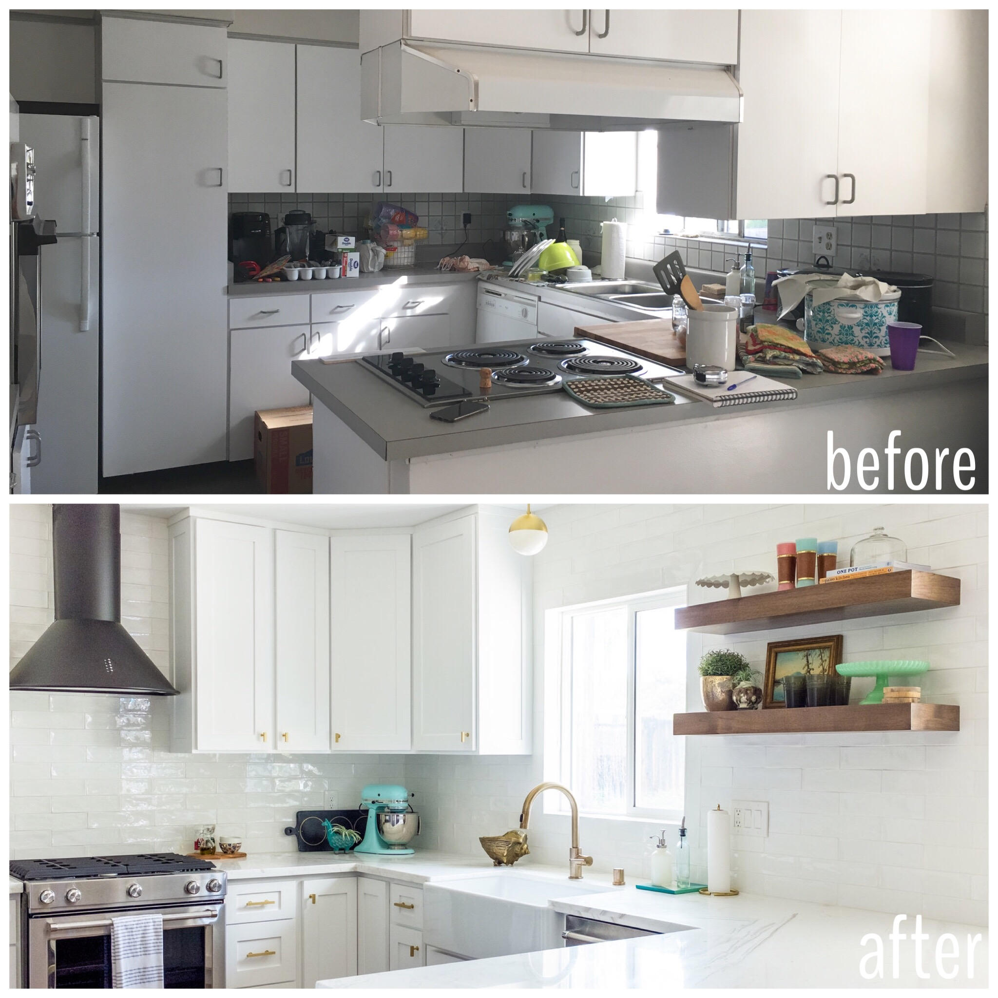 Before and After Classic white kitchen with retro mid century modern accents, black hood, floating shelves