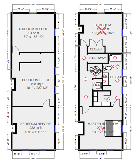 Floor plan change from bedroom to master bath