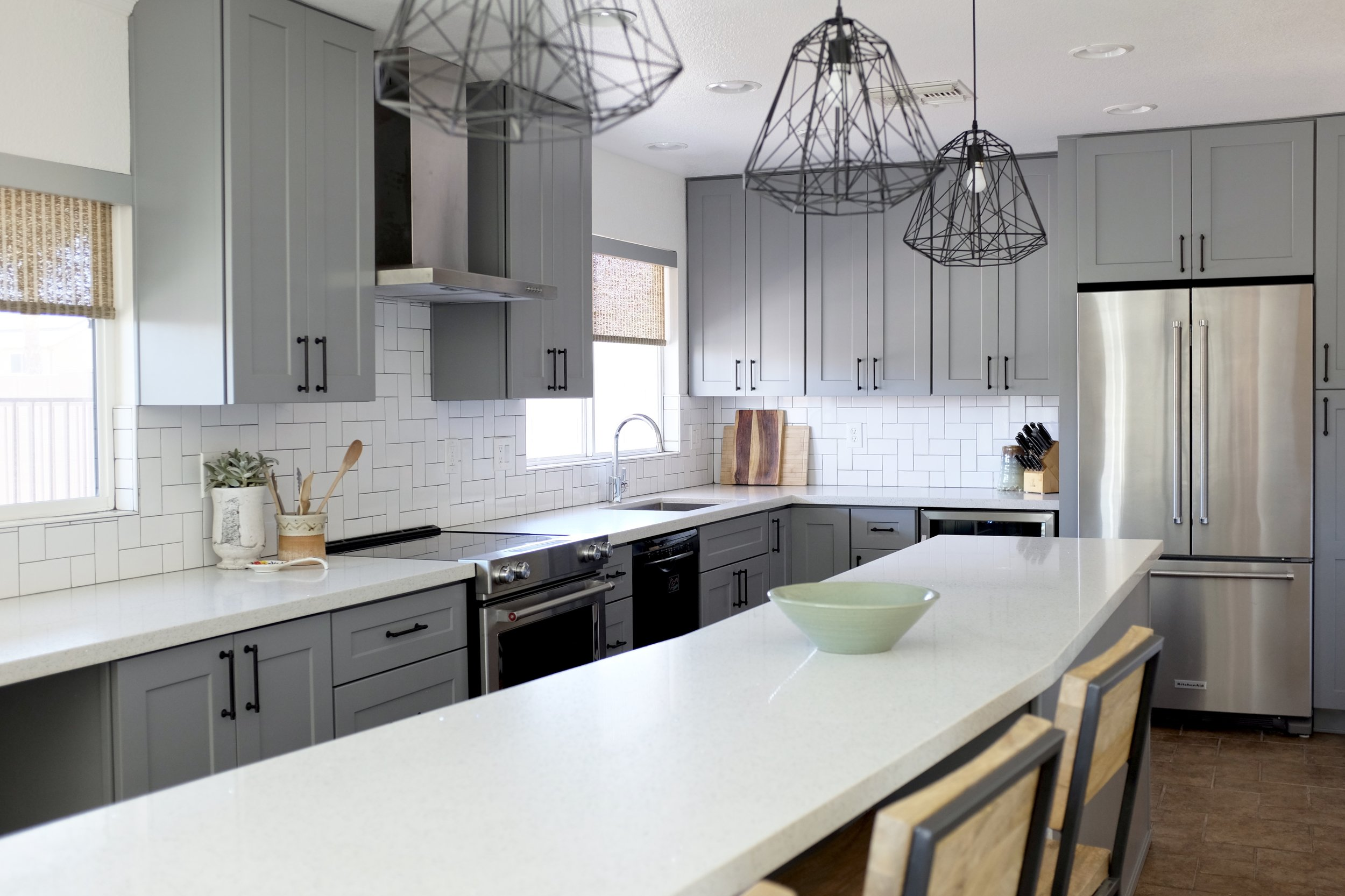 Gray Shaker Kitchen with LONG island Shop the Room