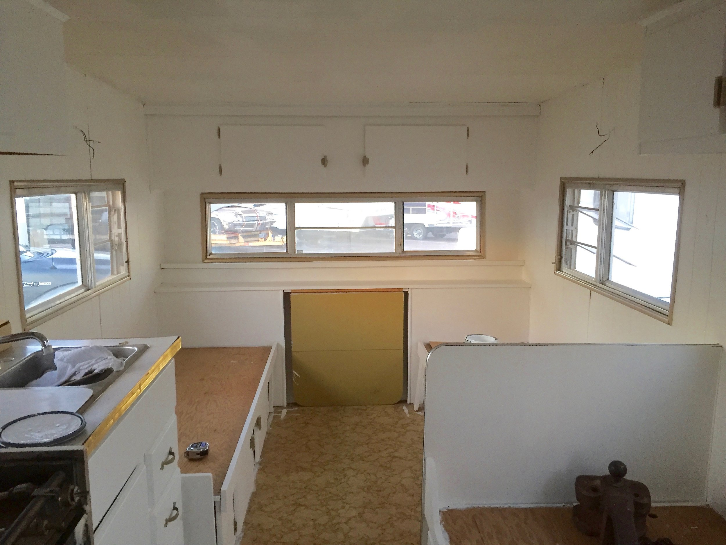 White walls in camper renovation