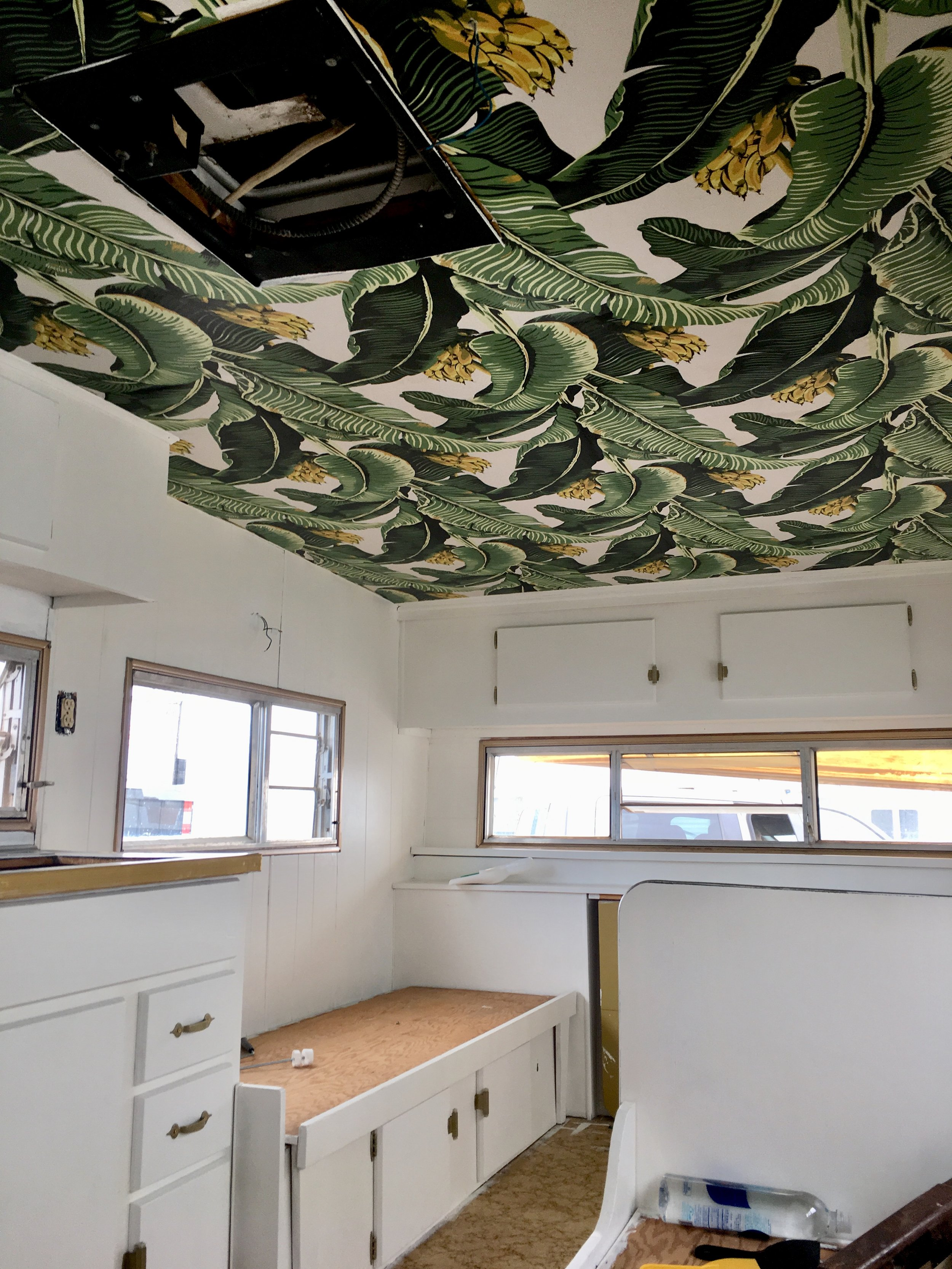 Banana wallpapered ceiling