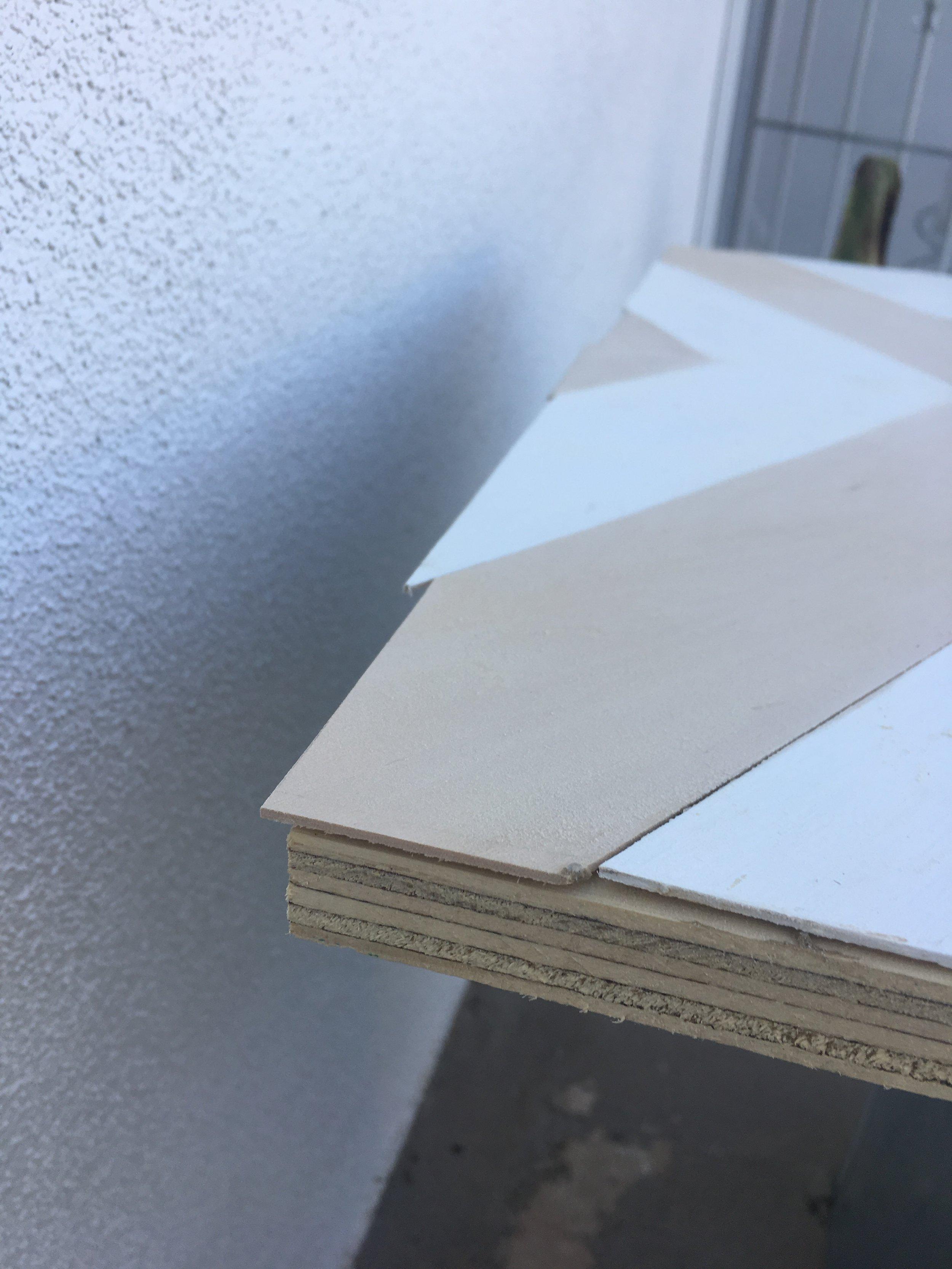 Overhang of pieces needing sanding