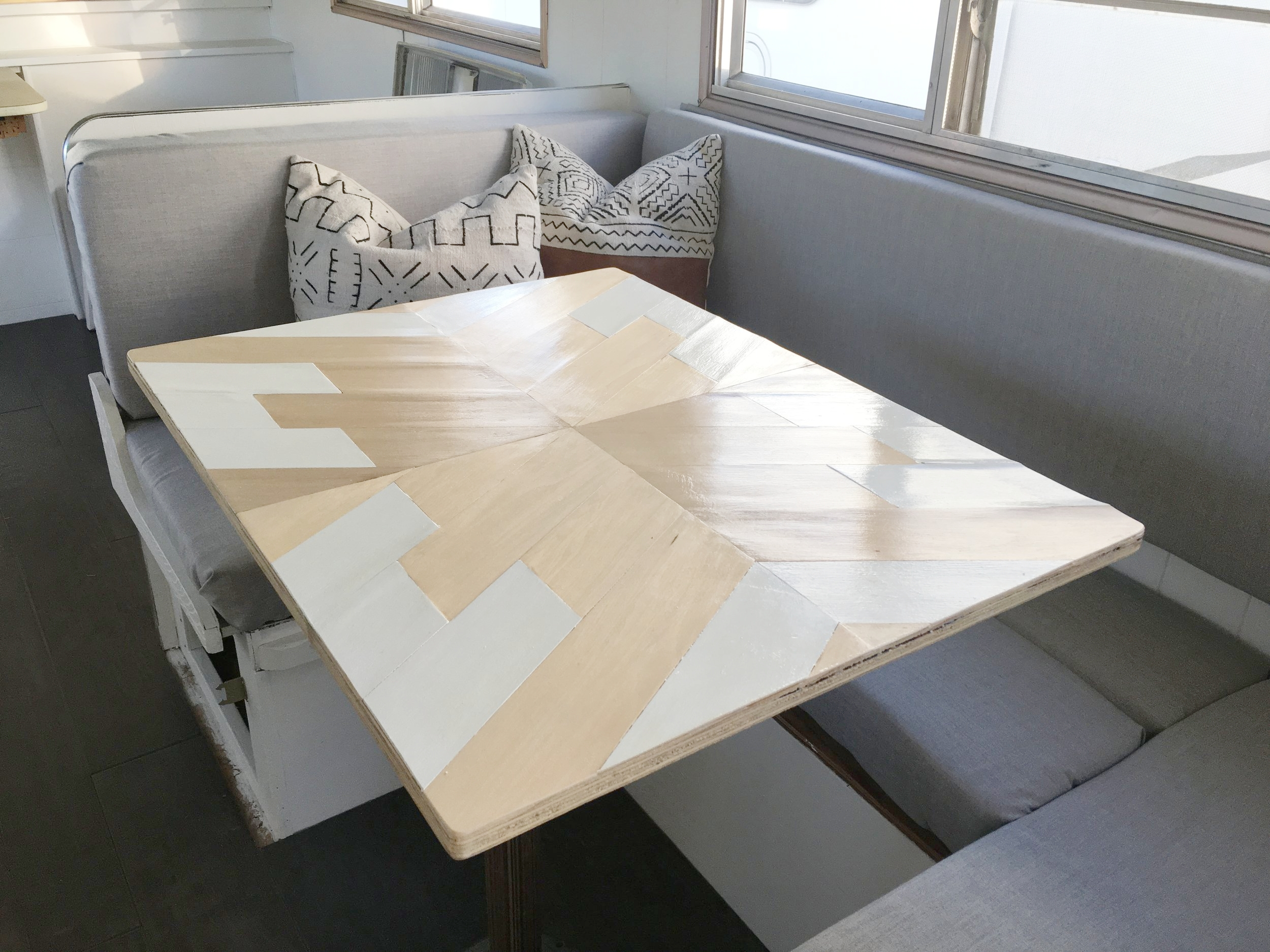 Geometric Basswood Camper Table