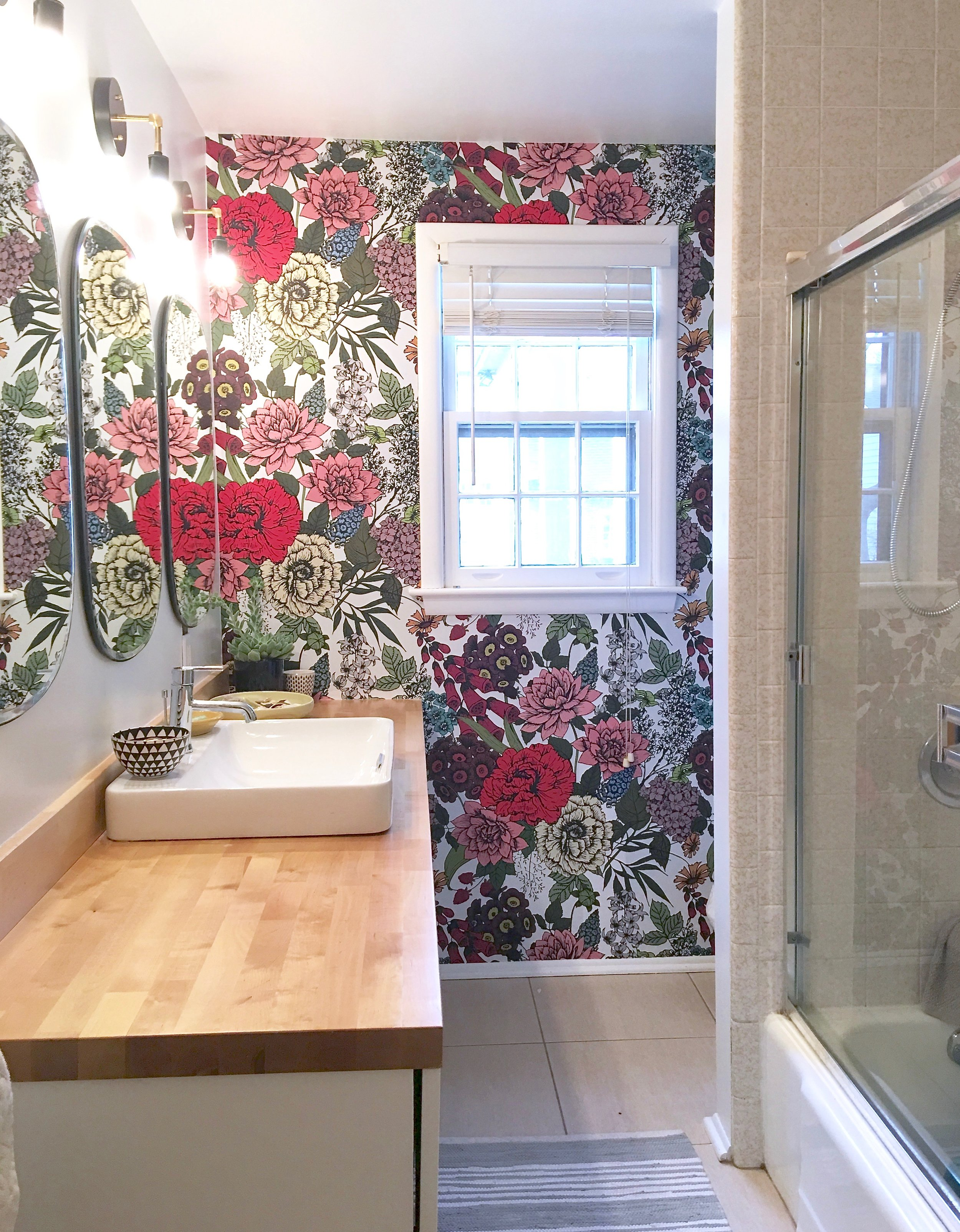 Retro Wallpaper Statement Wall Bathroom Makeover