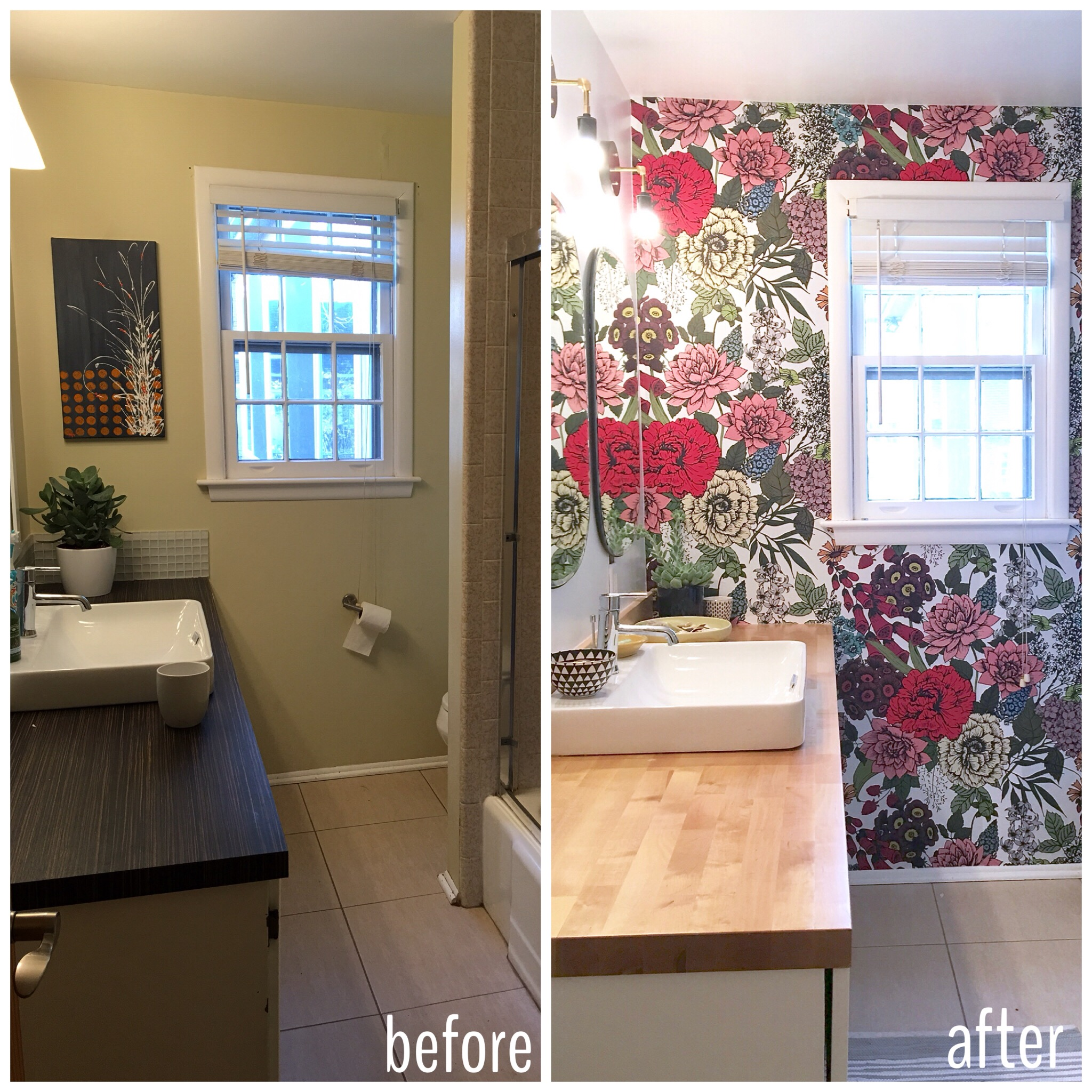 Retro Vintage Style Bathroom with Butcher Block and wallpaper