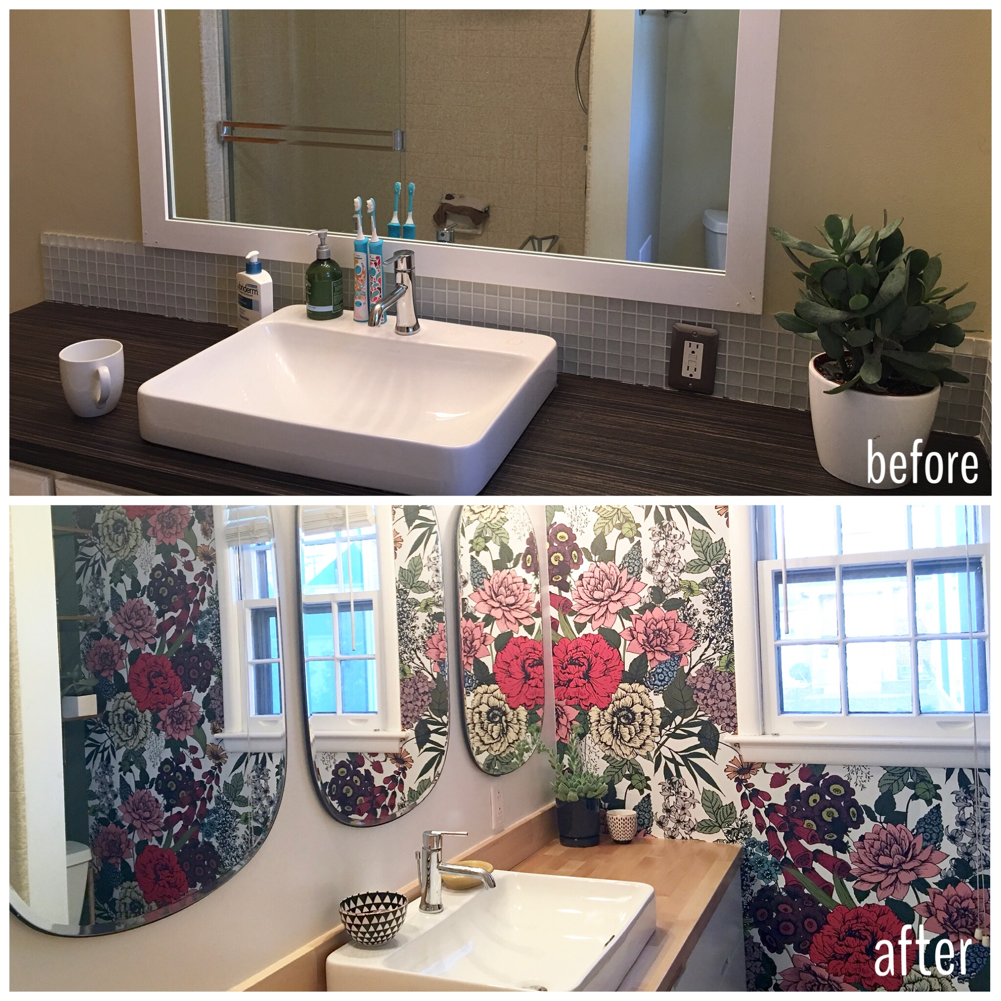 Wallpaper Accent wall in bathroom with butcher block counters and rectangle mirrors