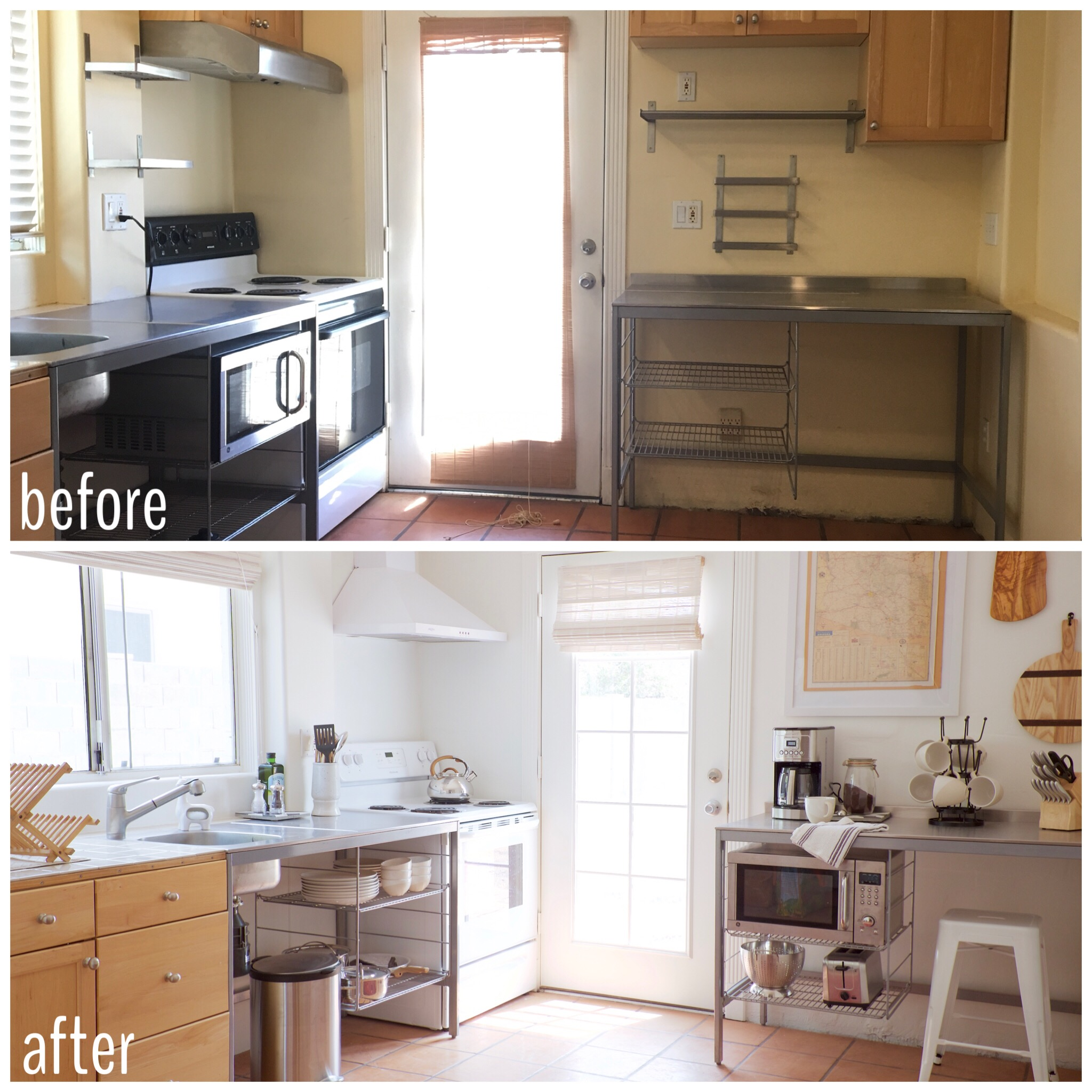 Stainless IKEA Kitchen at The Shack Phoenix Airbnb Before and After