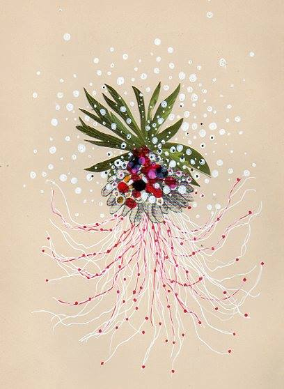 """Jenny Brown, """"Brittle Star and Blossoms,"""" collage and ink on paper."""
