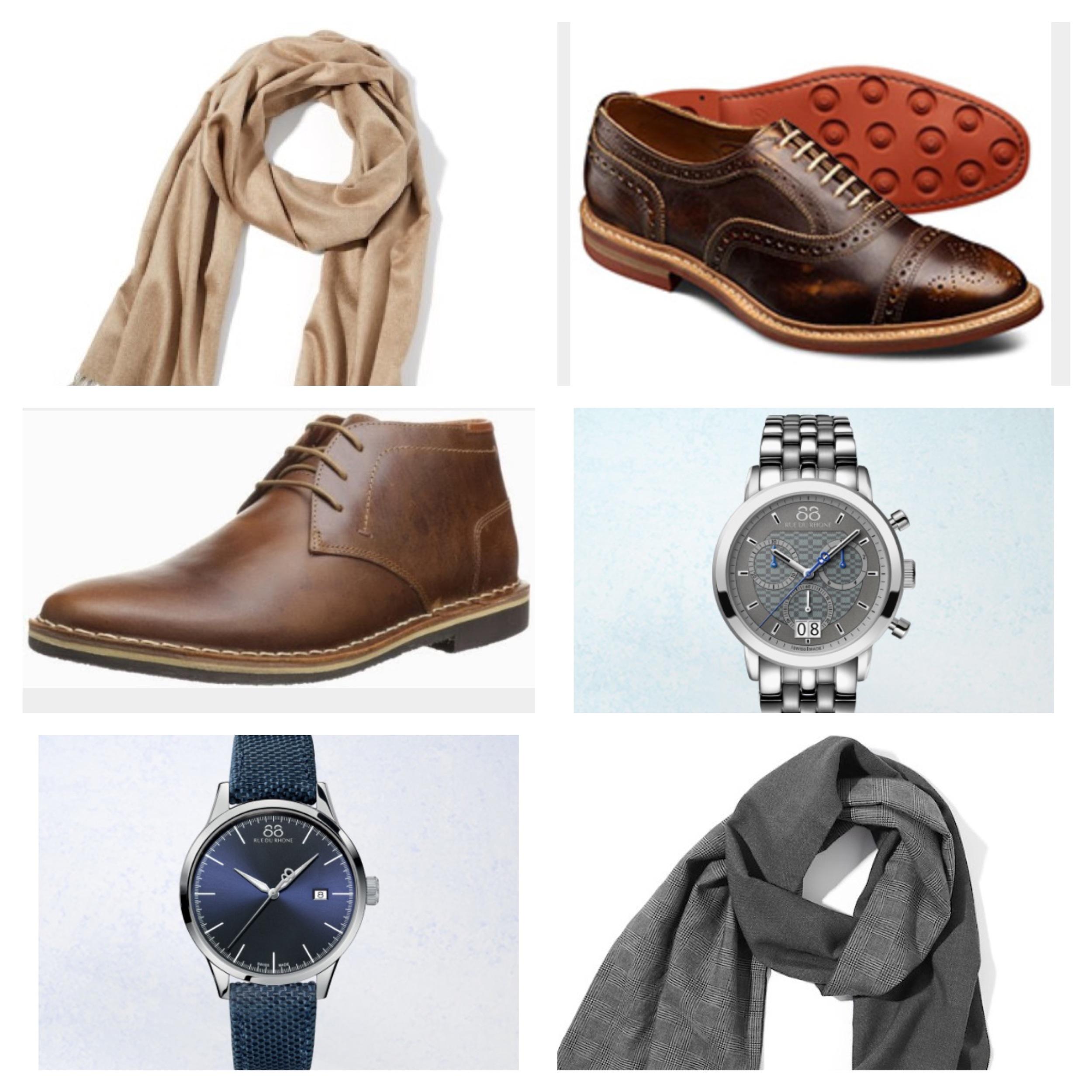 Row 1: Silk Solid Scarf , Allen Edmonds Strandmok Oxford ; Row 2: Steve Madden Harken Chukka Boot , 88 Rue de Rhone watch ; Row 3: 88 Rue de Rhone 45mm Quarttz Chrono watch , Grey Tonal Scarf
