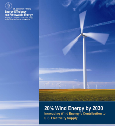 Source:  US Department of Energy. 20% Wind Energy by 2030: Increasing Wind Energy's Contribution to U.S. Electricity Supply. July 2008
