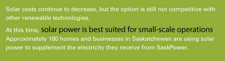 Source   :  SaskPower Supply Options - Solar Energy