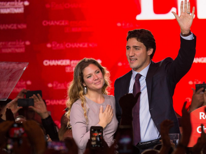 Justin Trudeau and his wife on election night: Monday 19 October