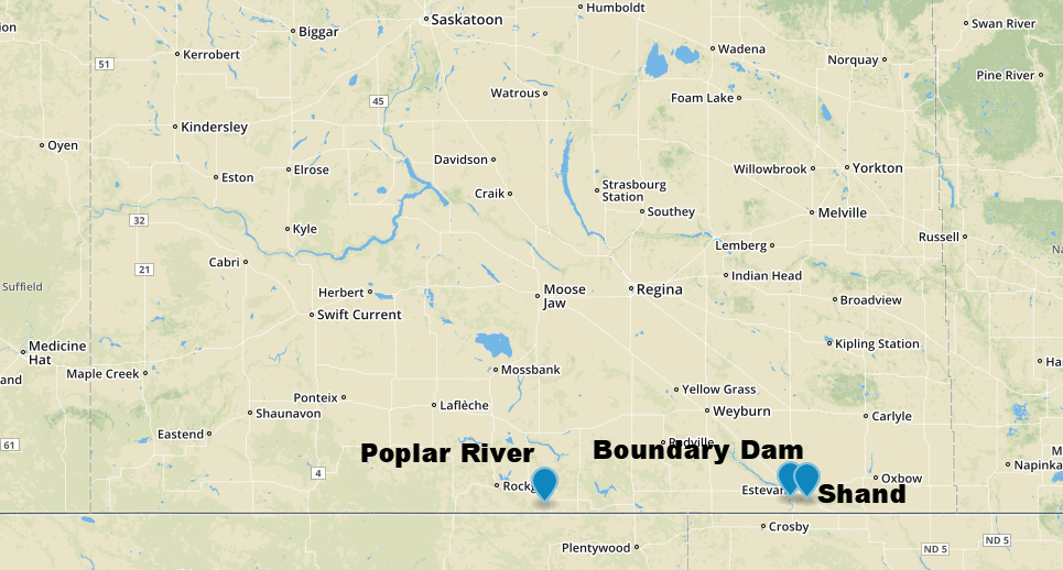 Location of SaskPower's three coal-fired power stations