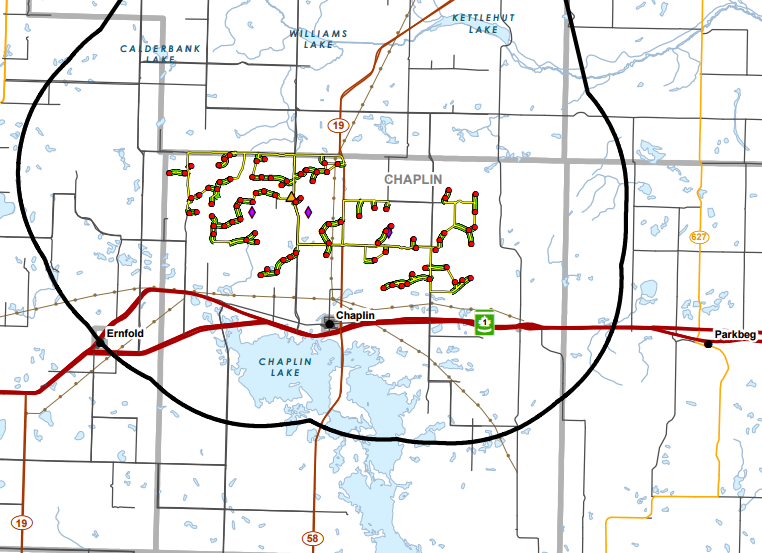 Source   : Chaplin Wind Energy Project  Environmental Impact Statement . 'Fig 1-1: Project Study Area within Southern Saskatchewan'. The red dots represent proposed locations for turbines and the yellow lines between them are permanent access roads.