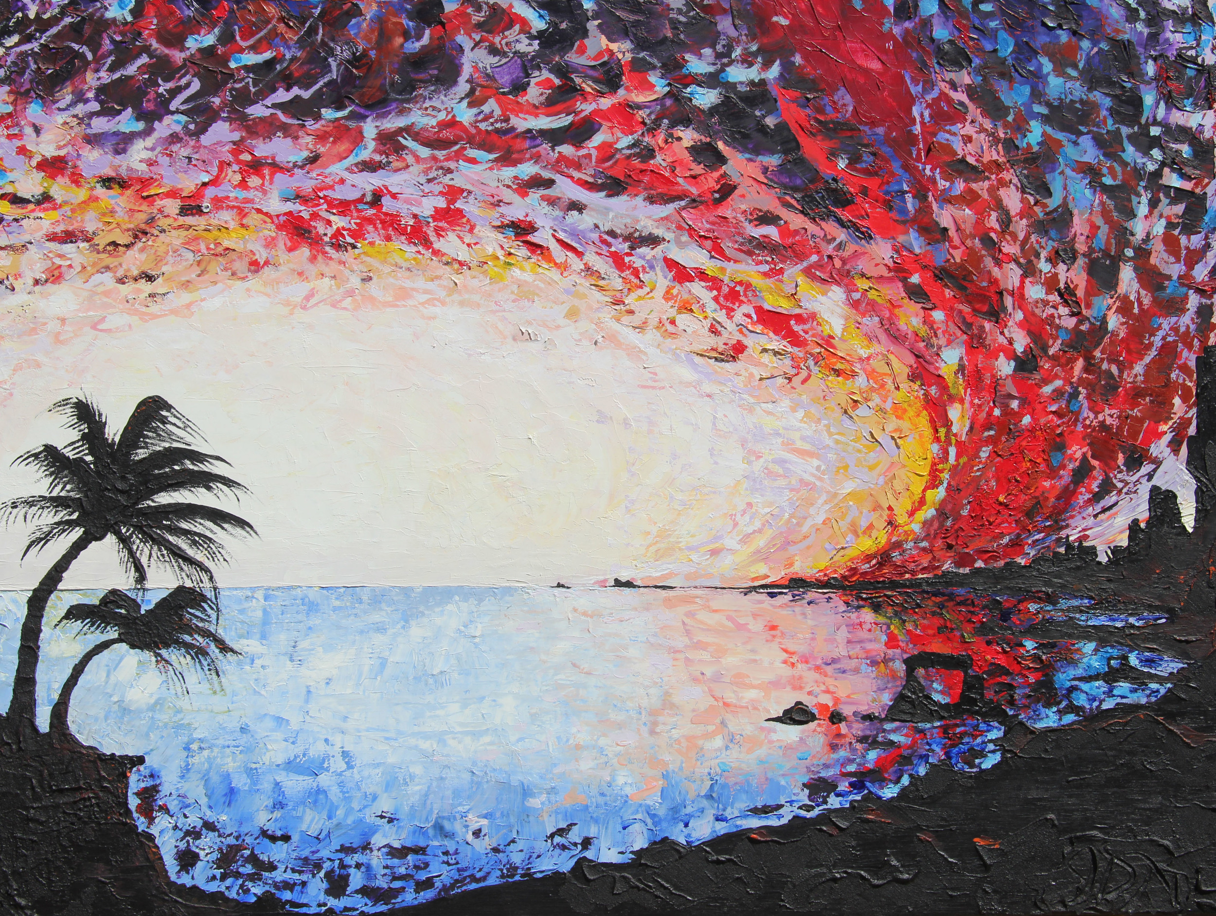 """beach sunset    30"""" x 40""""  oil, acrylic, gesso and course texture gel on canvas  2012 - 2013"""