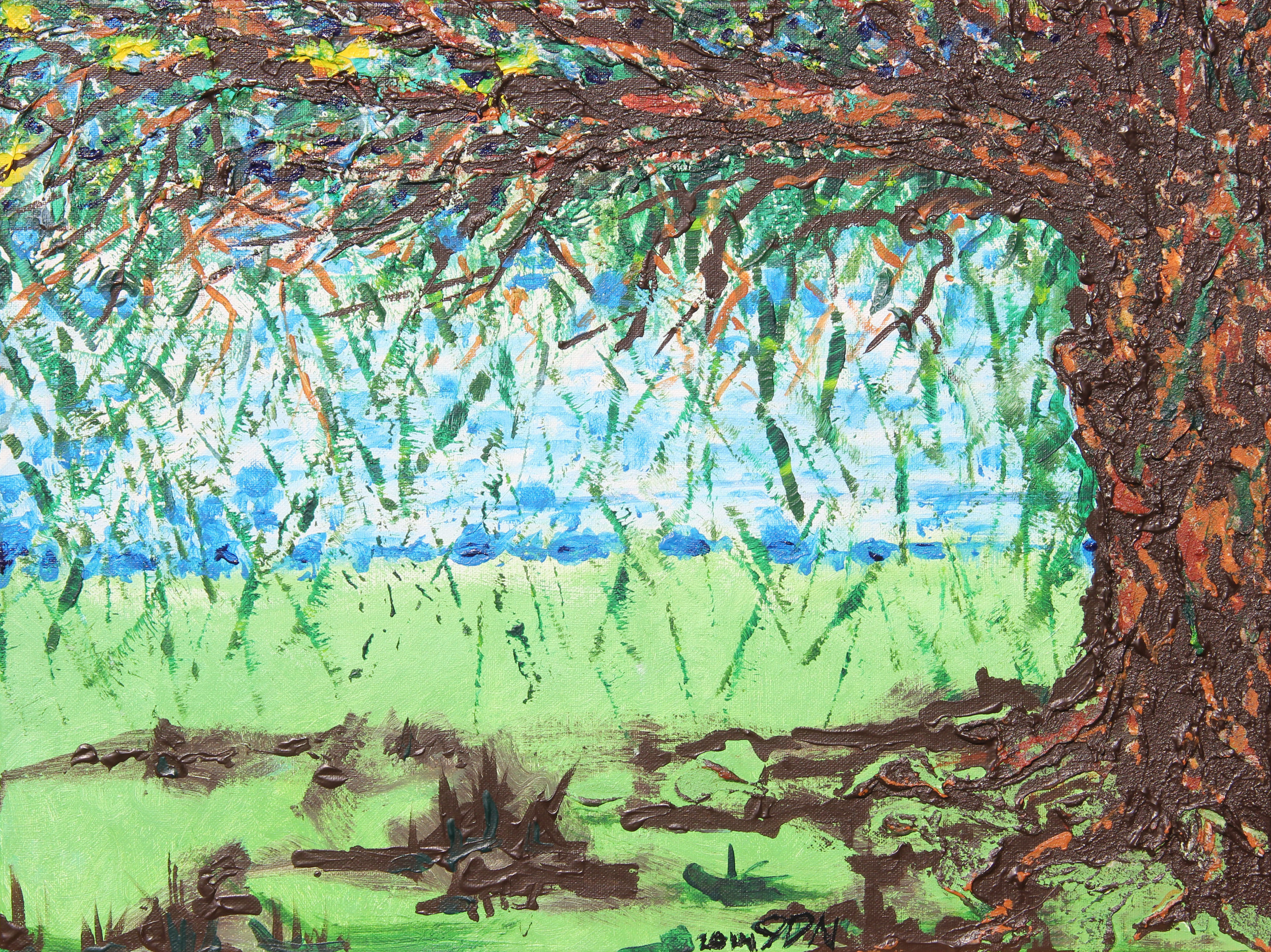 """tree    18"""" x 24""""  acrylic and course texture gel on canvas  2014"""