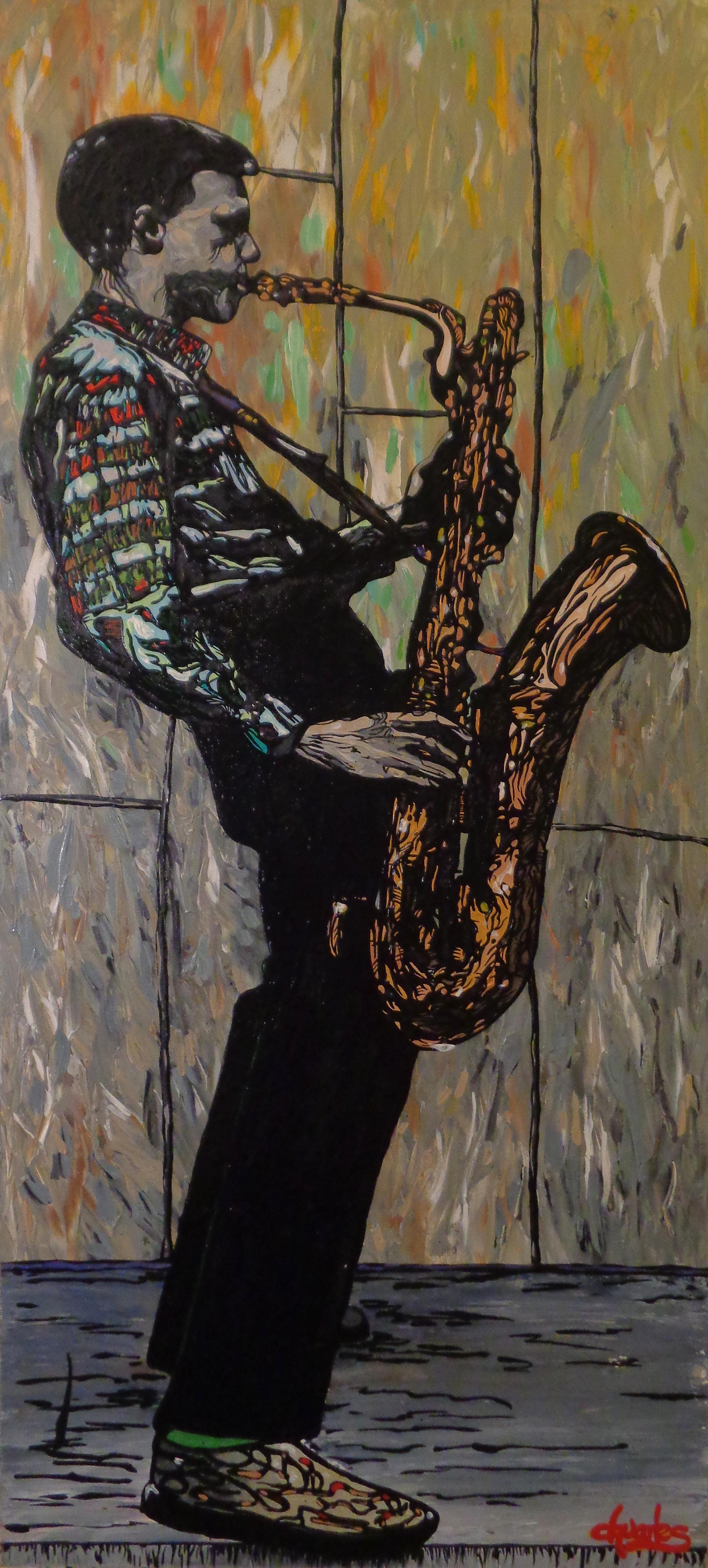 "Gerry Mulligan   2015 acrylic on canvas 22"" x 48"""