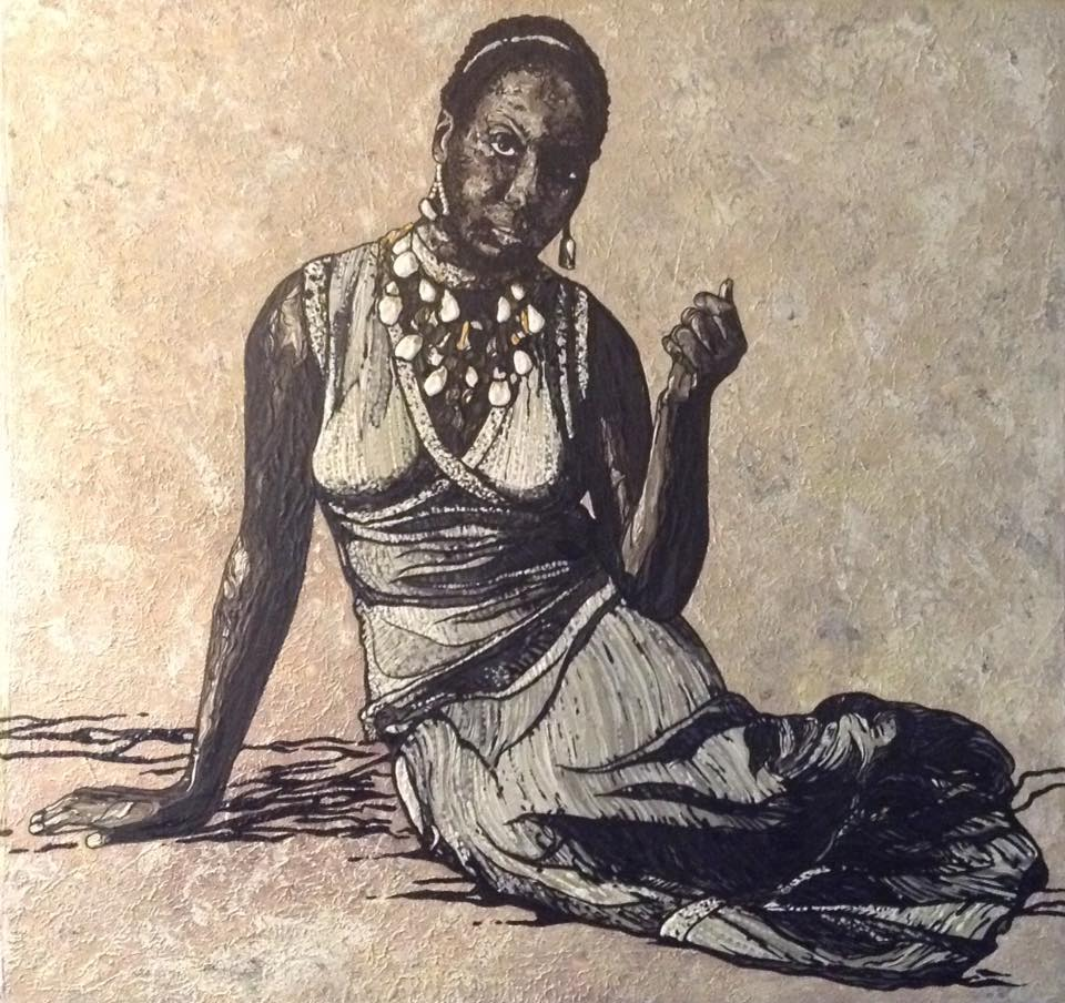 "Gifted and Black, Nina Simone  2015 acrylic on canvas 40"" x 40"""