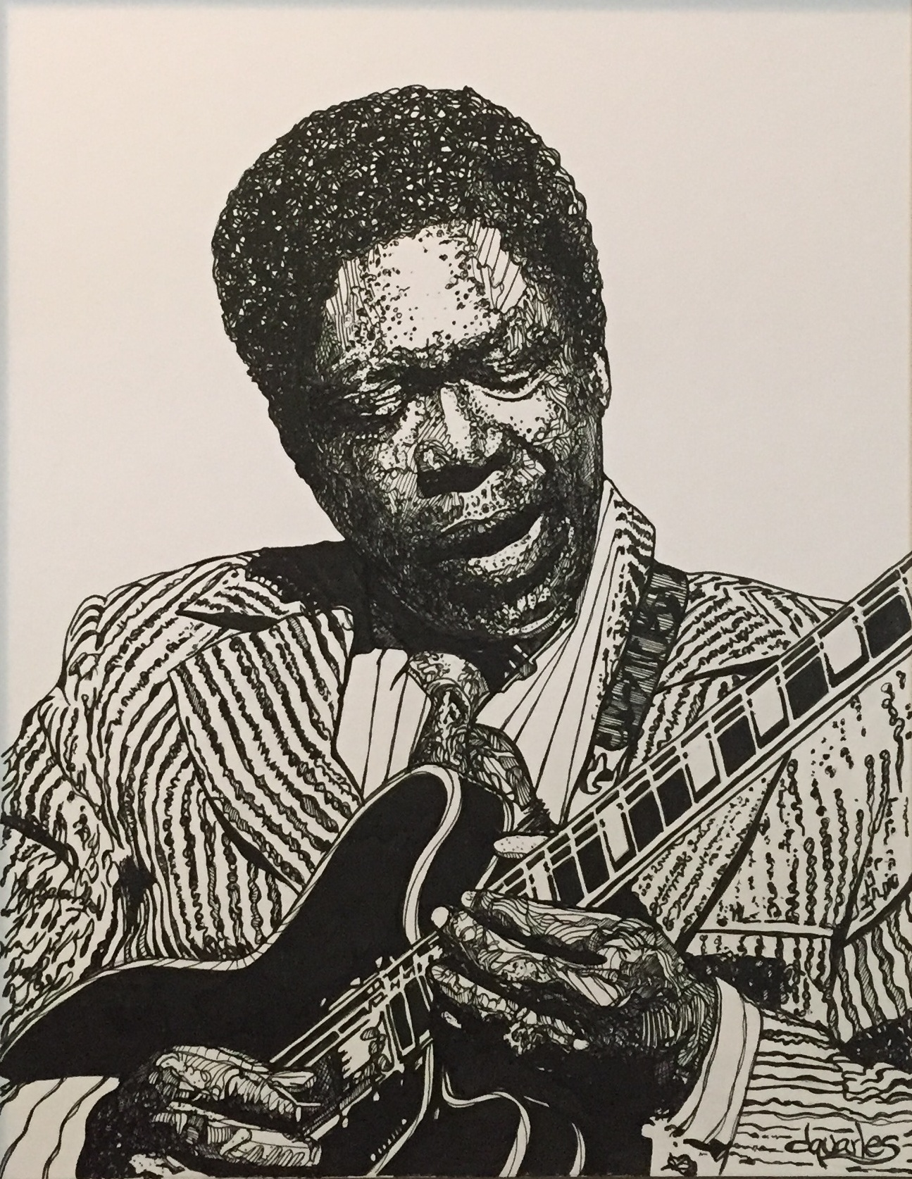"B.B. King  2015 pen and ink 16"" x 20"""