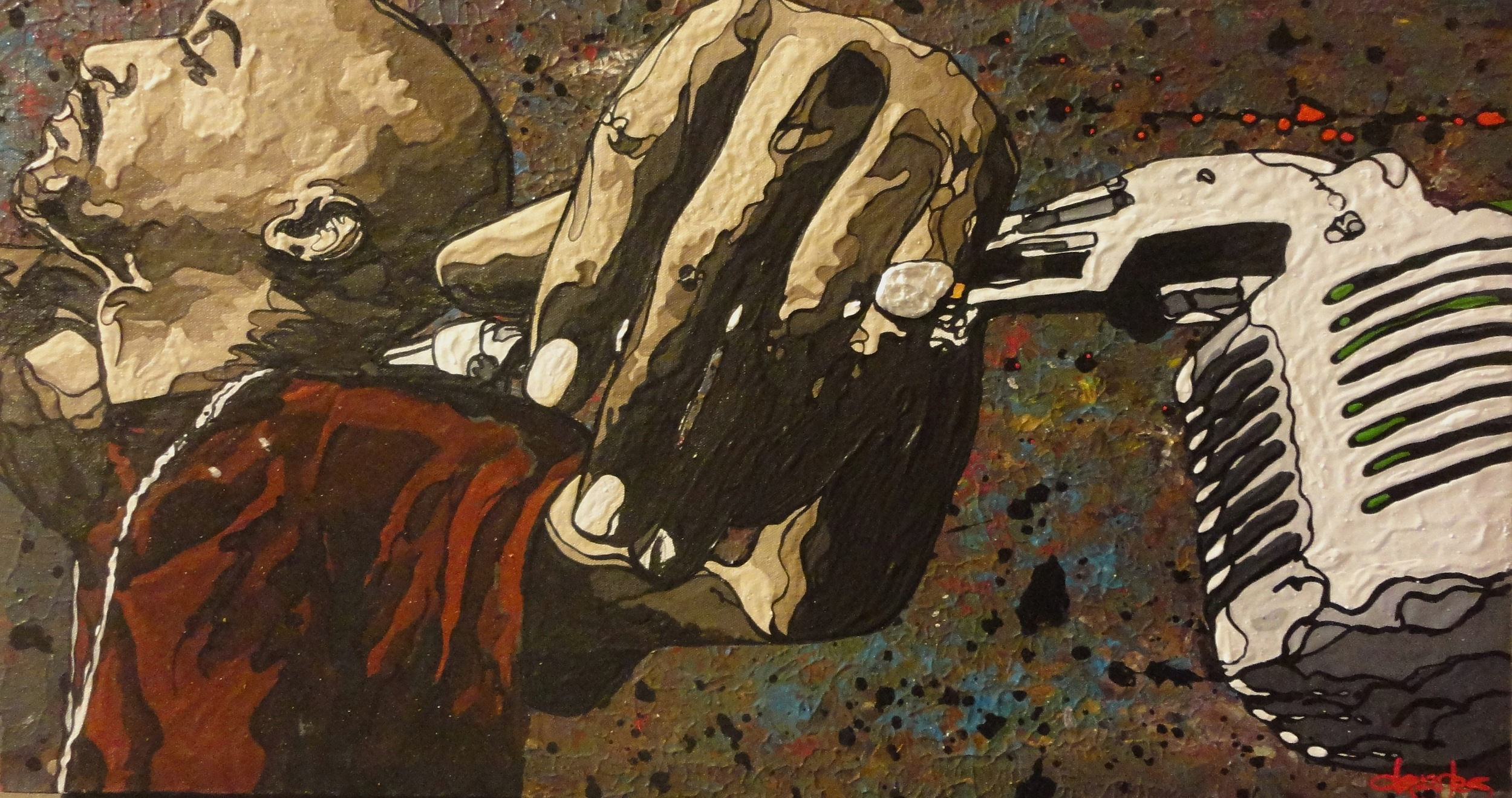 "Microphone Fiend, Rakim  2014 acrylic on canvas 20"" x 36"""
