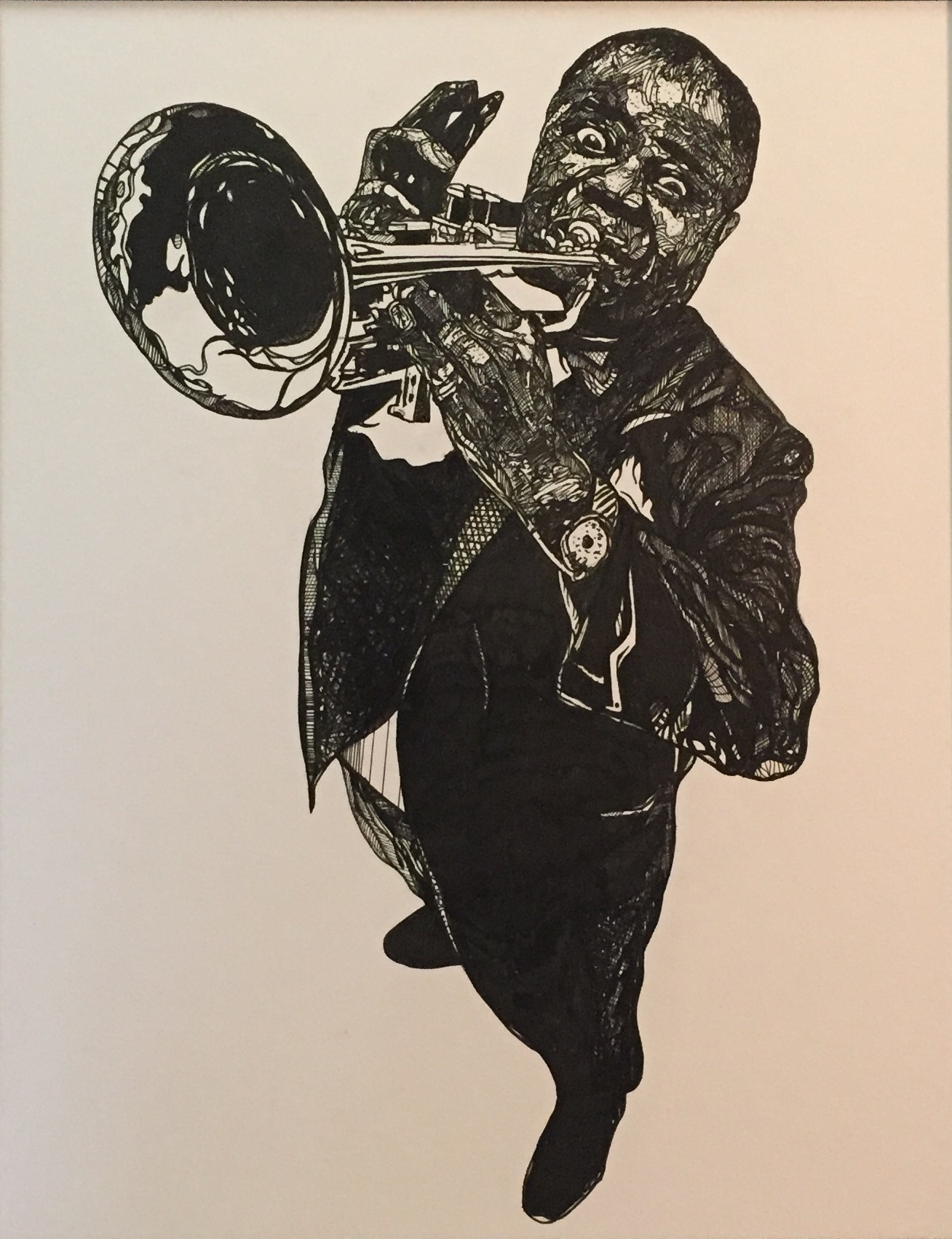 "Satchmo (Louis Armstrong)  2015 pen and ink 16"" x 20"""