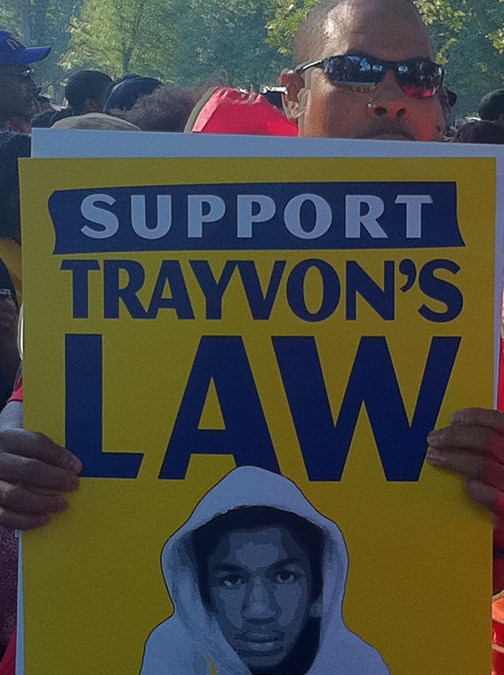 Protestor holding Support Trayvon's Law Poster  (2013), photograph