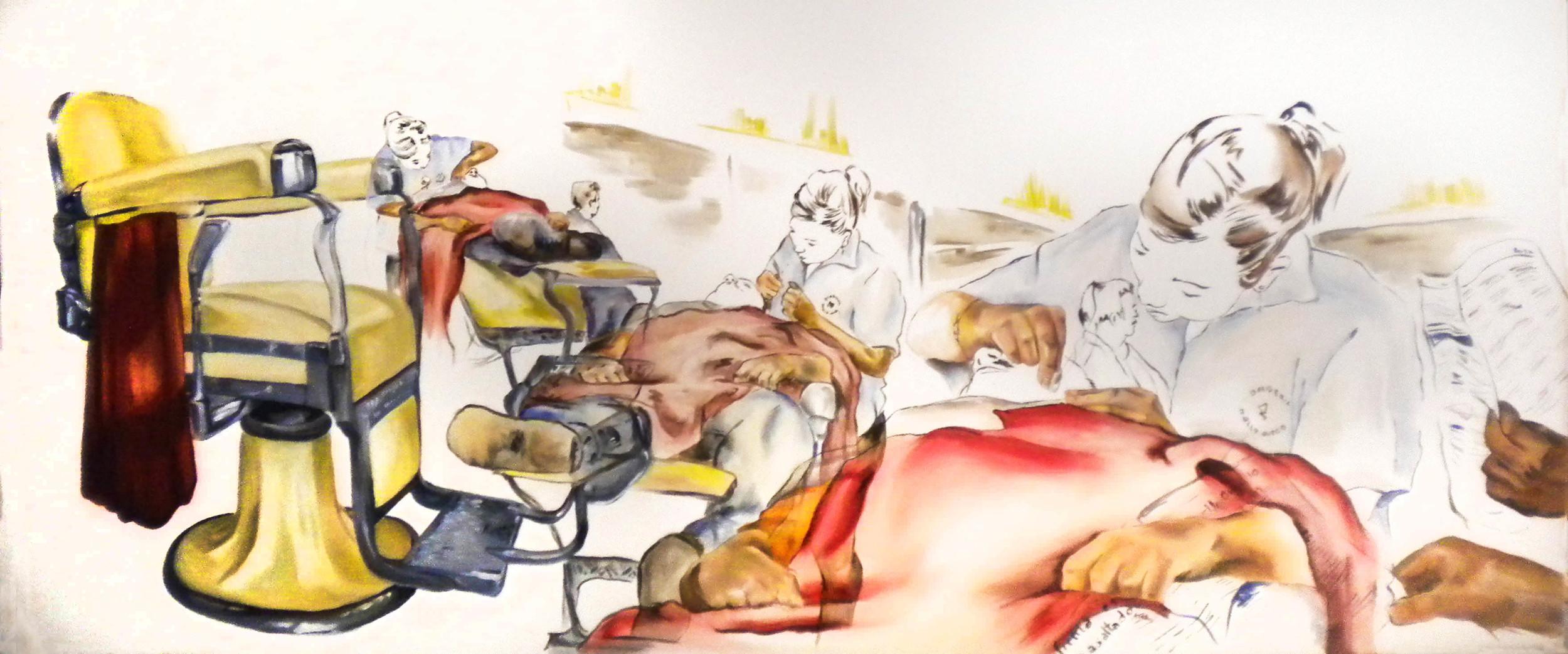 Barberia Holywood  2010 oil on canvas 80 x 190 cm