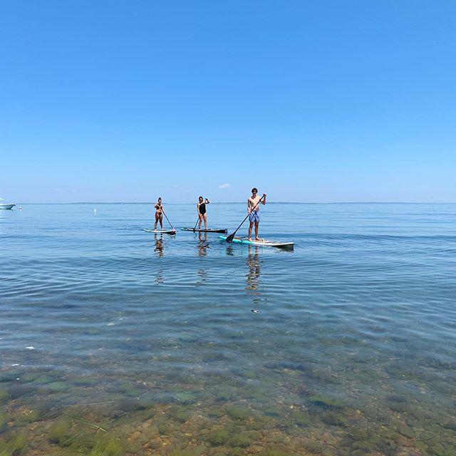 Flat calm with nothing but blue sky. #aquinnah #chilmark #marthasvineyardlife #paddleboard
