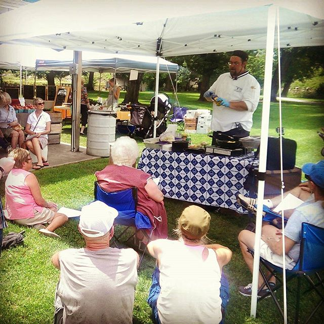 Cooking demonstration with Chef Zack Lorber at #huntingdonfarmersmarket!  From now until 5pm!