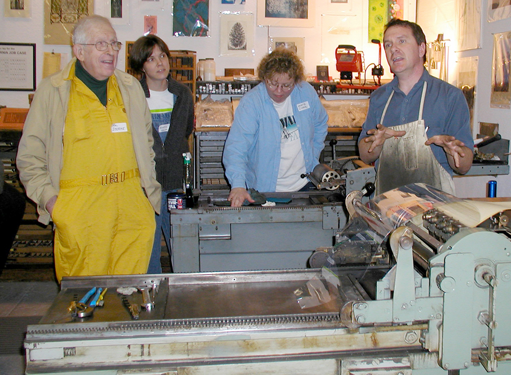 Hal Sterne attending Vandercook Maintenance Workshop