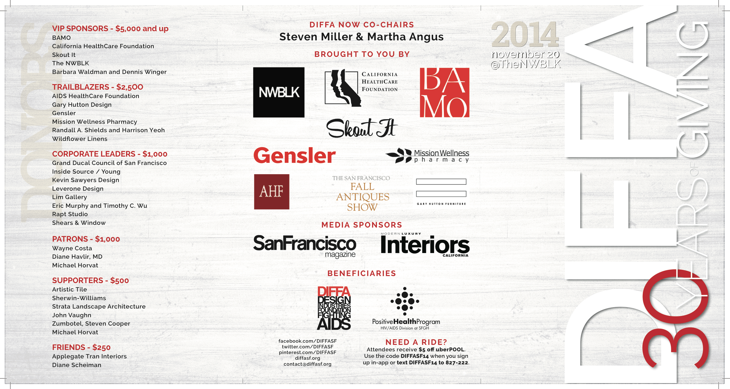 DIFFA 30 Year Anniversary Event Program, 2014 - Outside/Front & Back Cover
