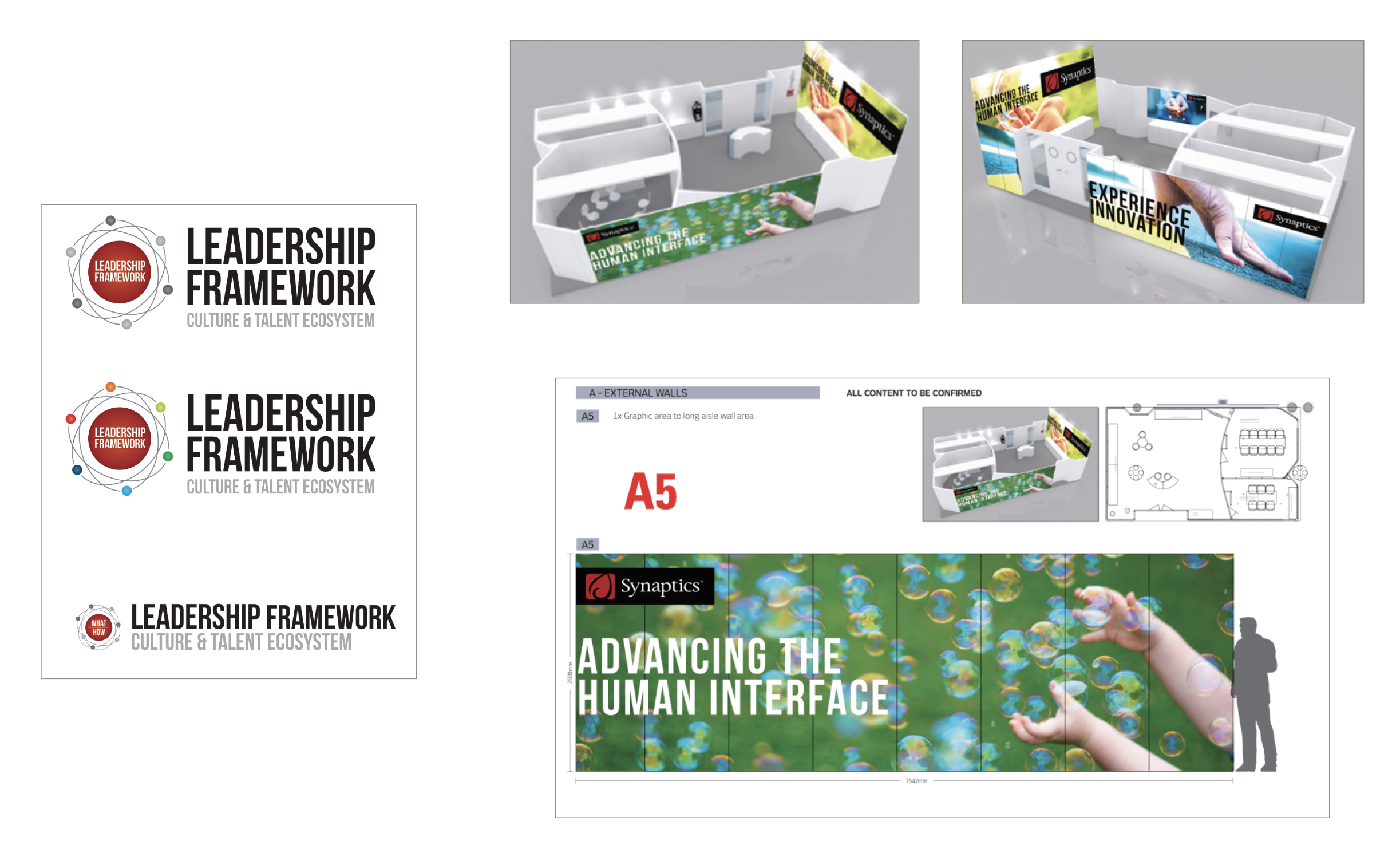 """internal culture campaign - Synaptics""""Leadership Framework"""" CampaignCampaign Logo Design & Branding • Print Materials • Tradeshow Signage • Packaging • Banners • Brochures"""